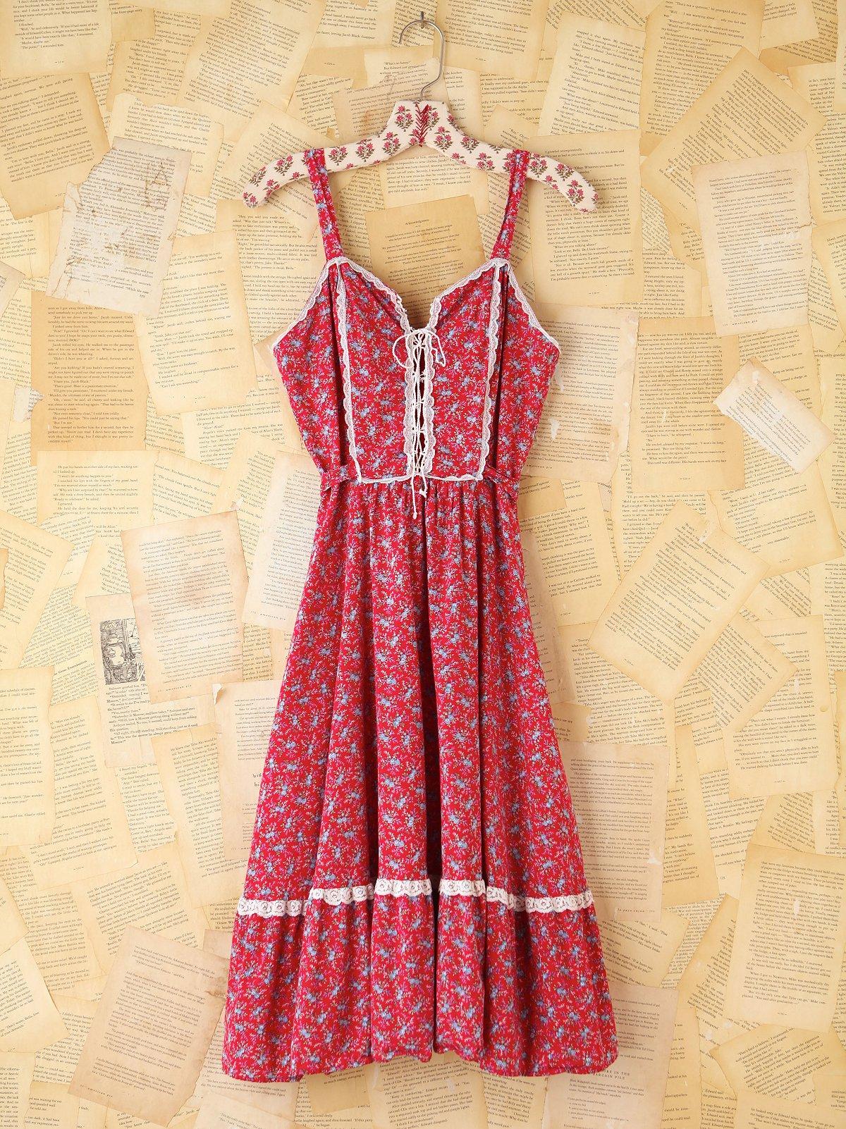 Vintage Red Ditzy Floral Dress
