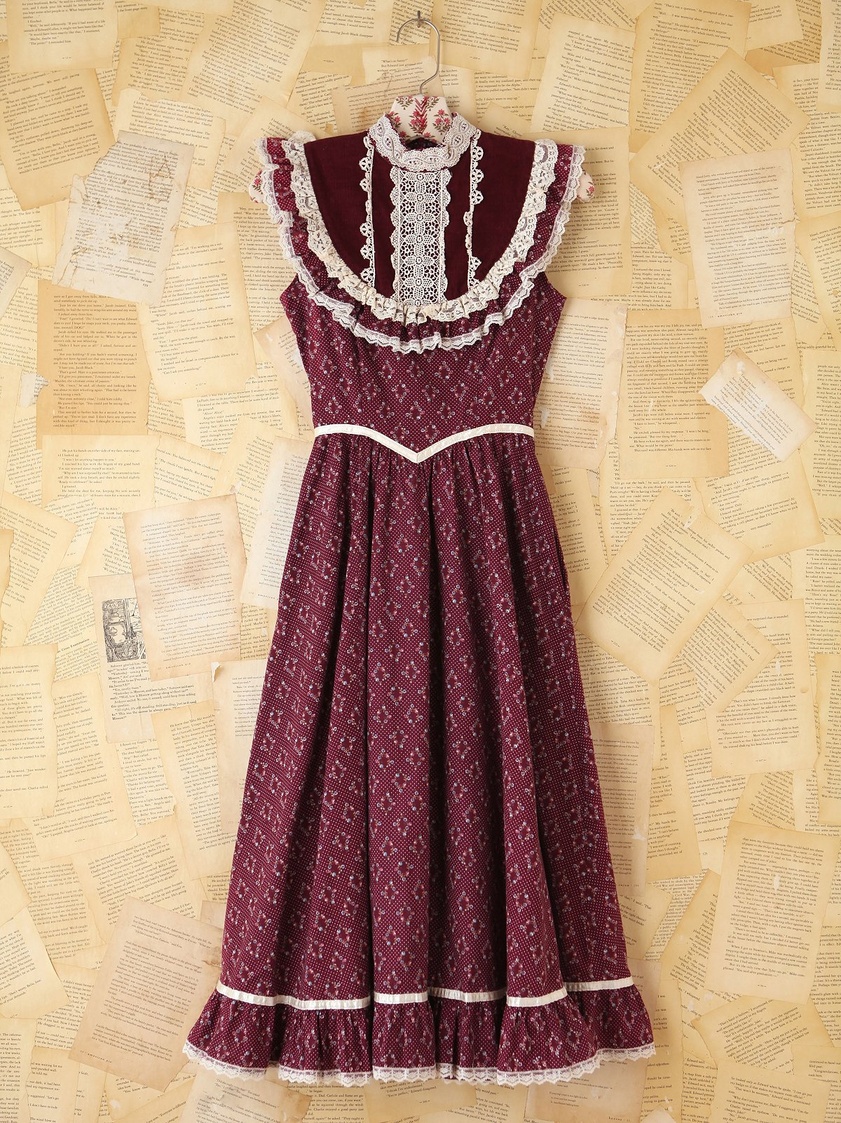 Vintage Maroon Floral Dress