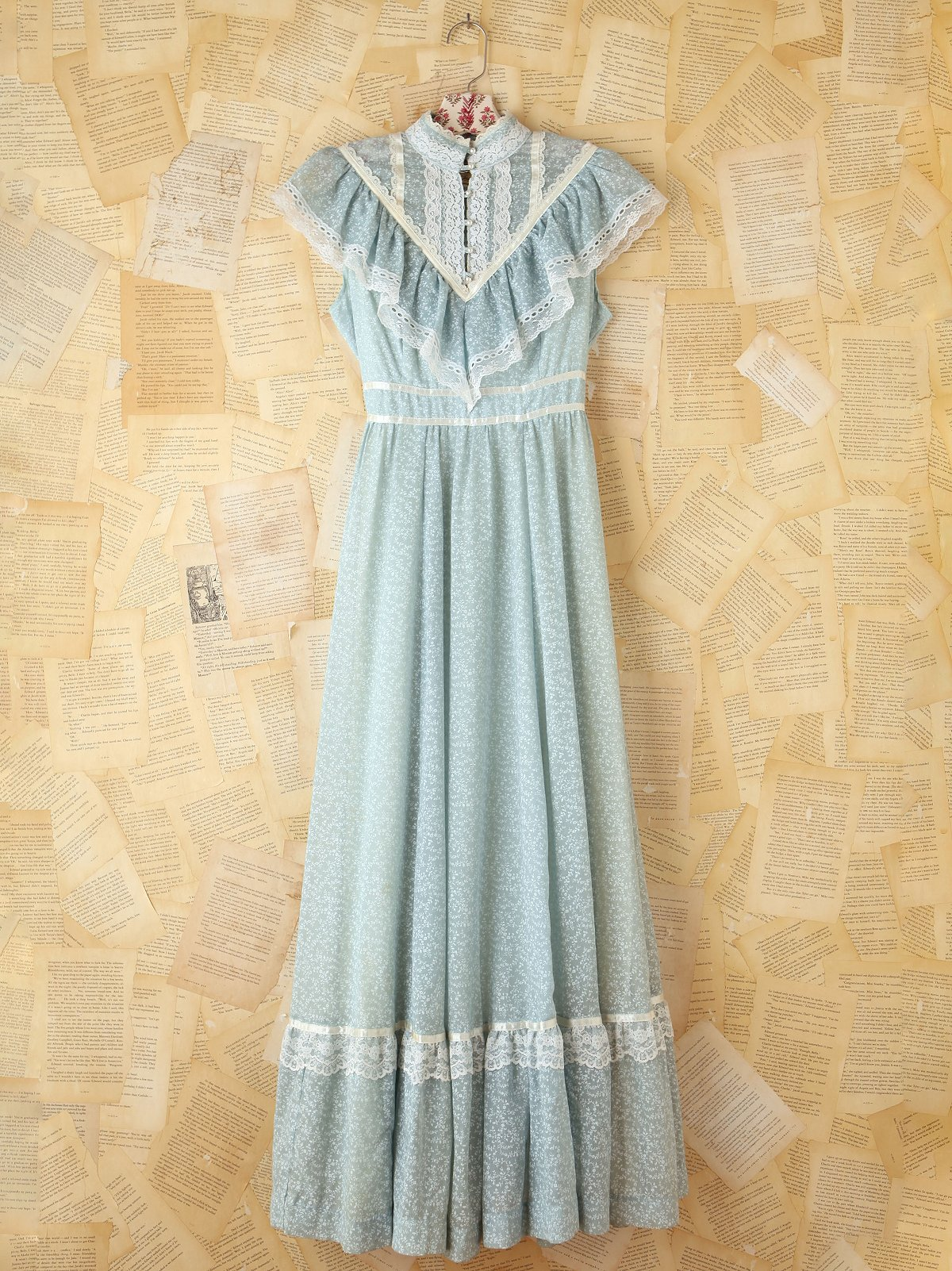 Vintage Light Blue Floral Maxi Dress