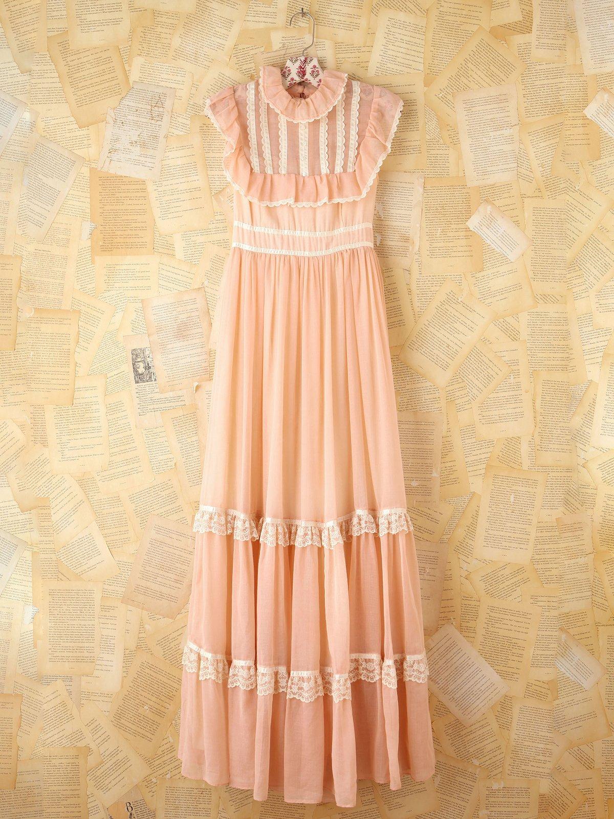 Vintage Pink Bibbed Maxi Dress