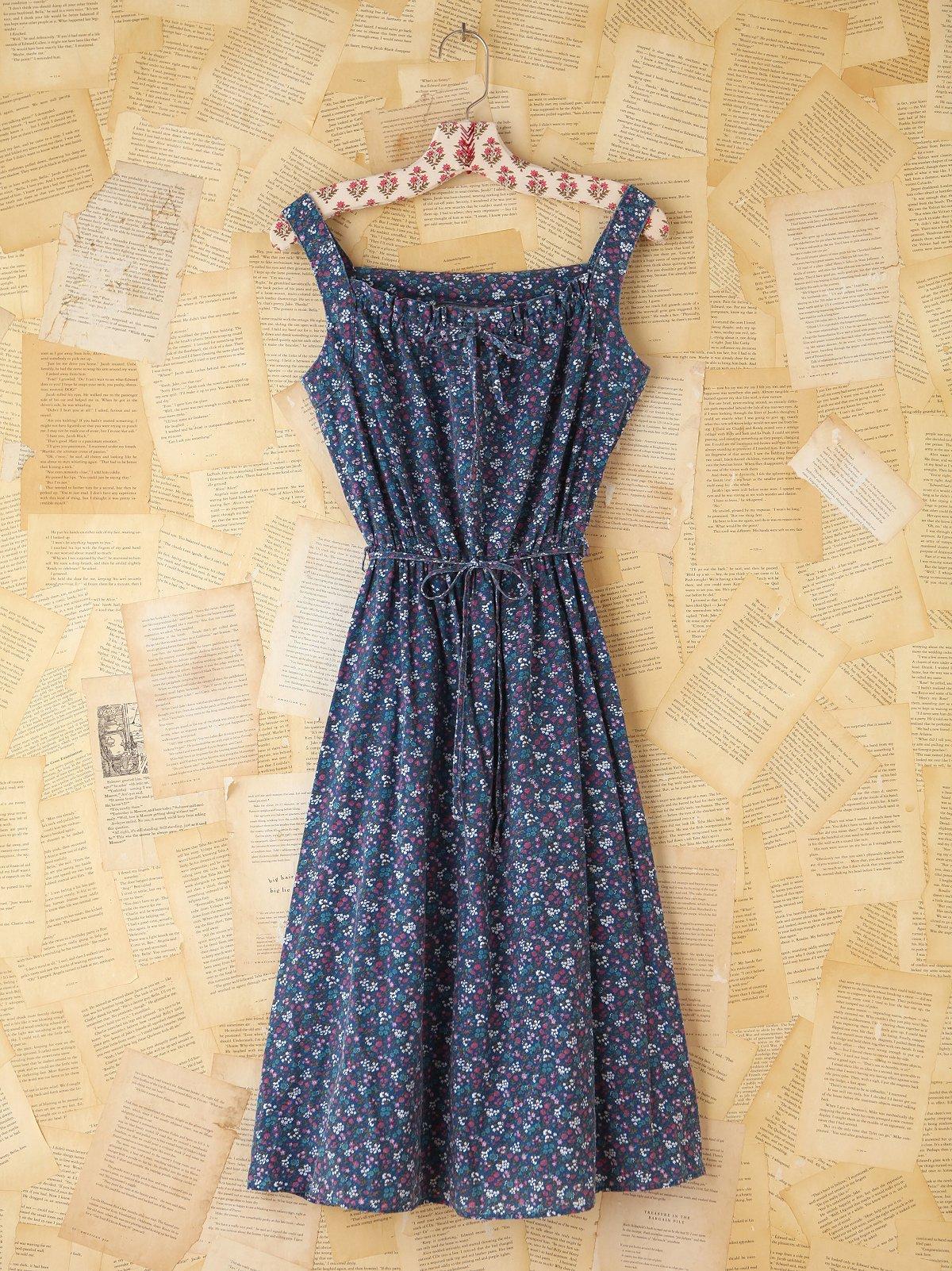 Vintage Blue Floral Printed Dress