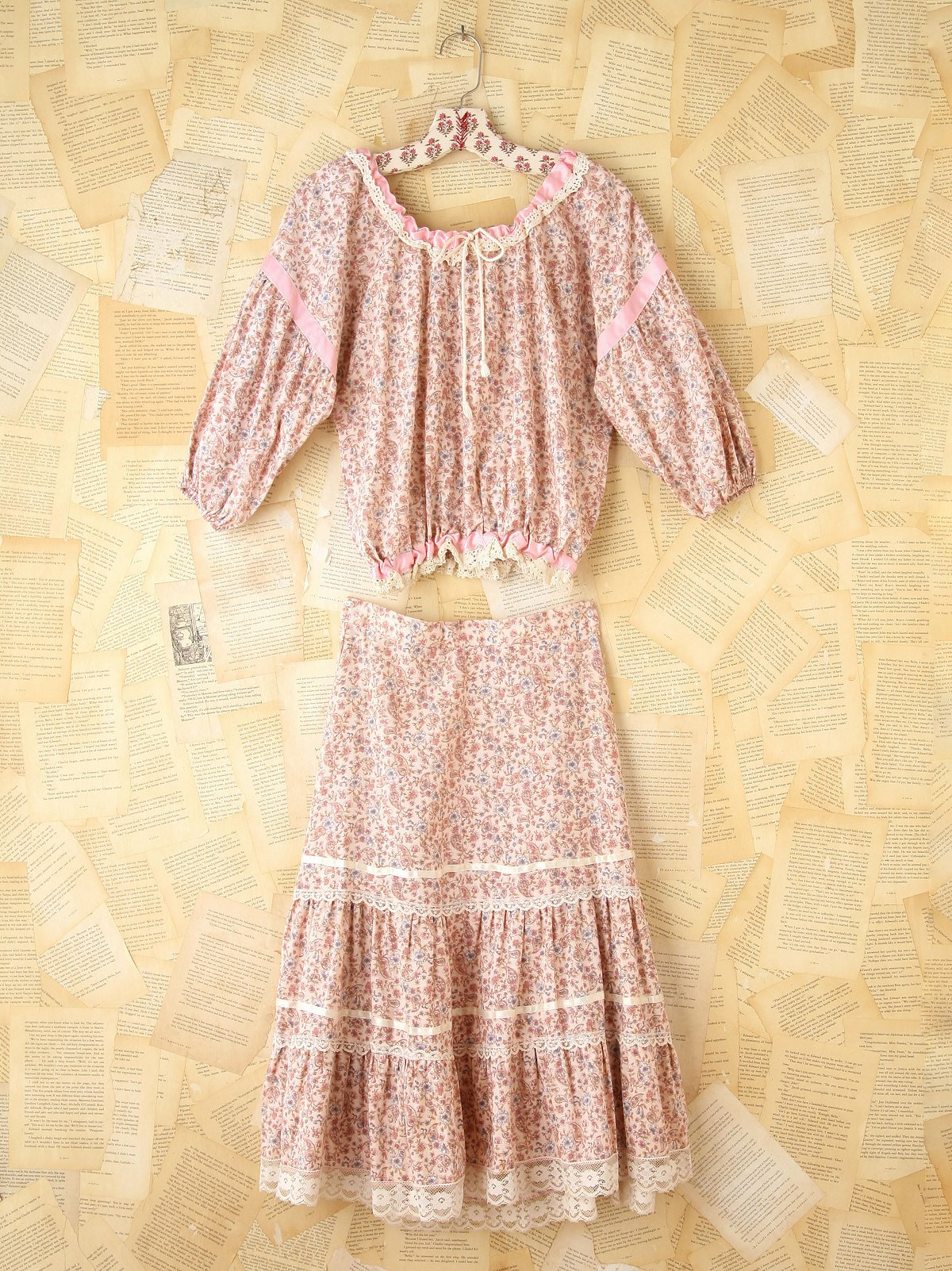 Vintage Two-Piece Pink Floral Set