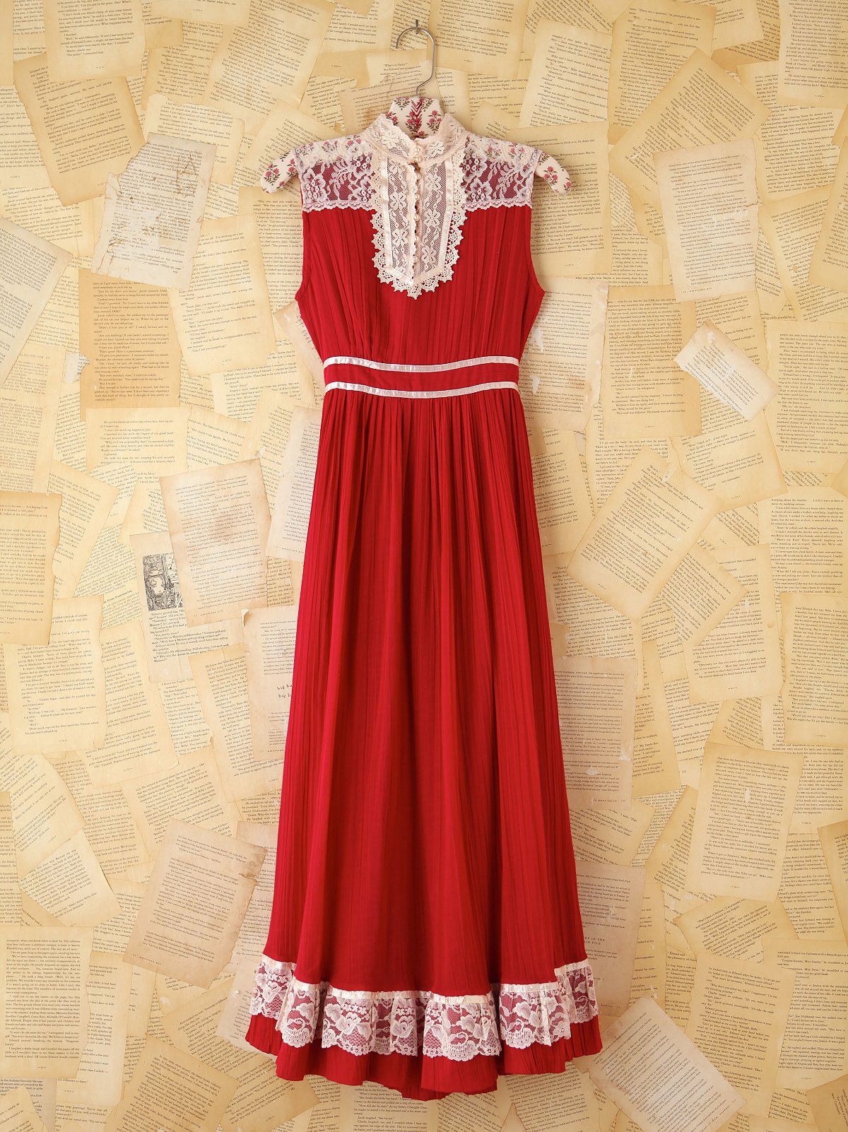 Vintage Crinkly Red Maxi Dress