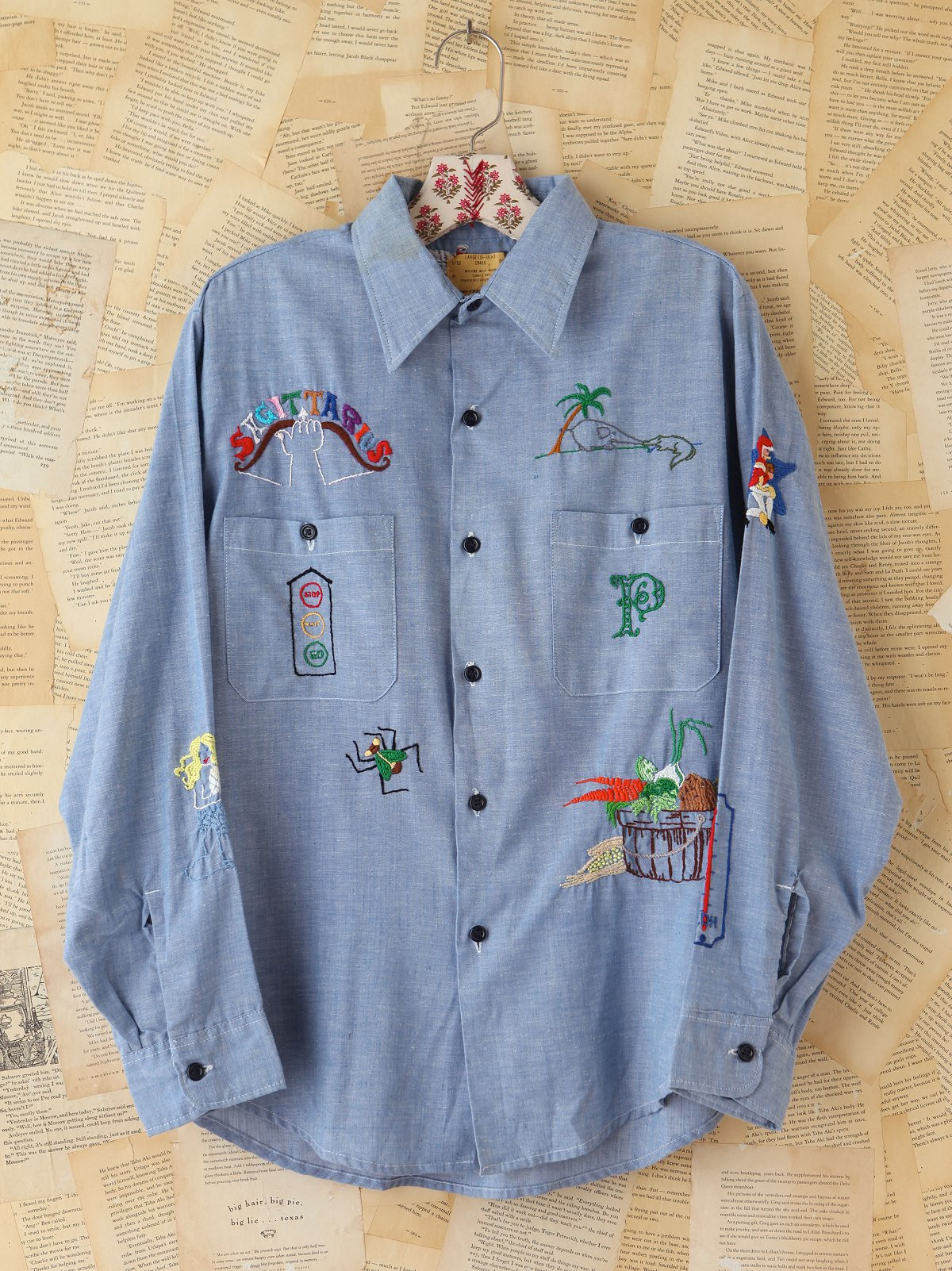 Vintage Embroidered Chambray Top