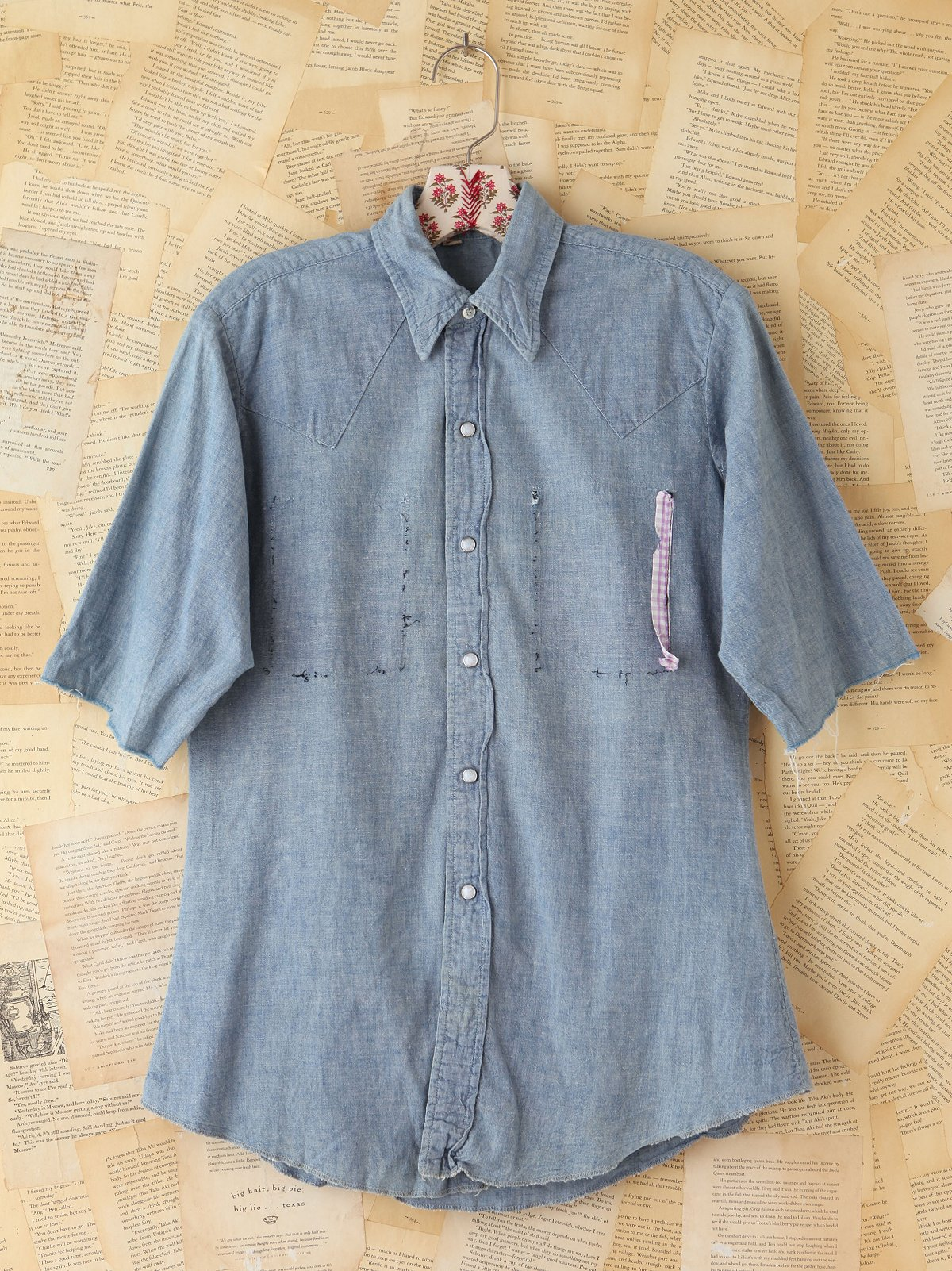 Vintage Crop Sleeve Chambray Top