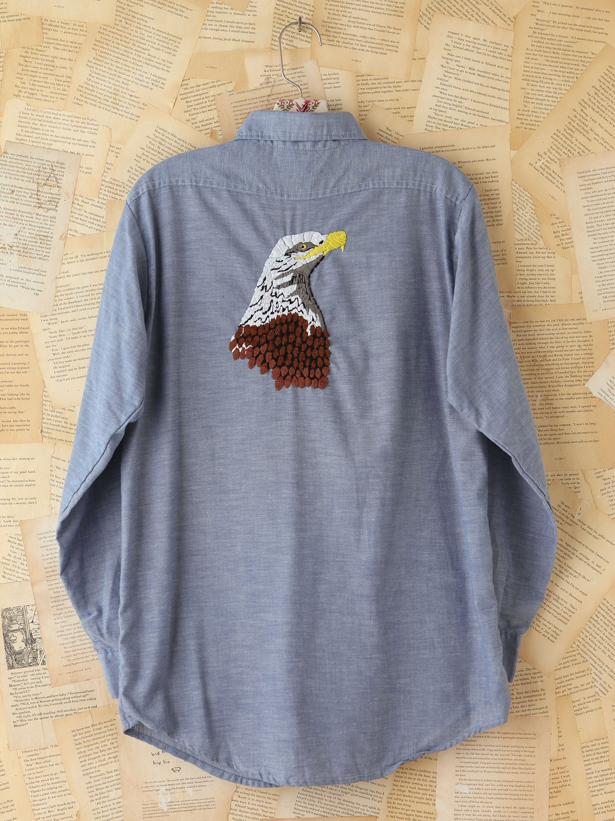 Vintage Embroidered Eagle Chambray Top
