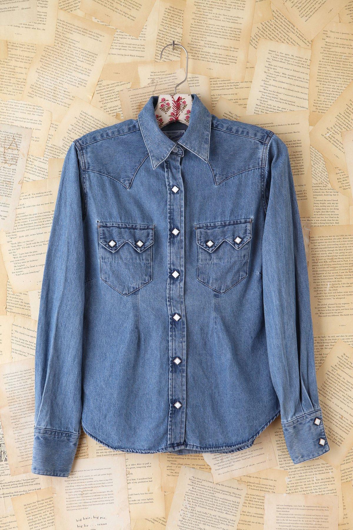 Vintage Button Front Denim Shirt
