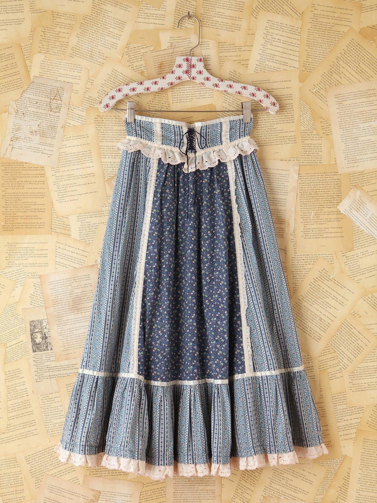 Vintage Blue Floral Printed Skirt