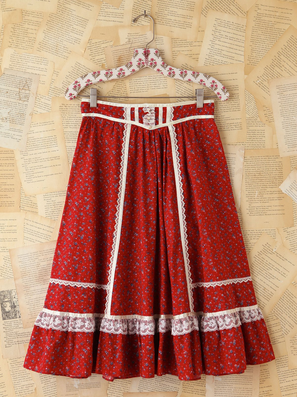 Vintage Lace Tiered Floral Skirt