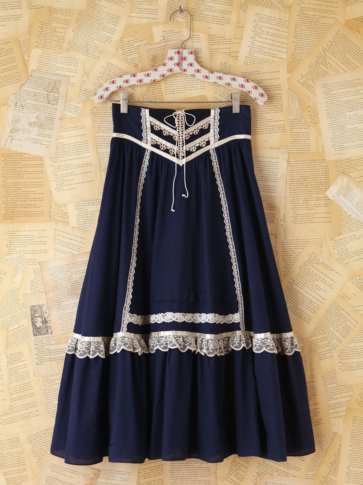 Vintage Navy Lace Trimmed Skirt