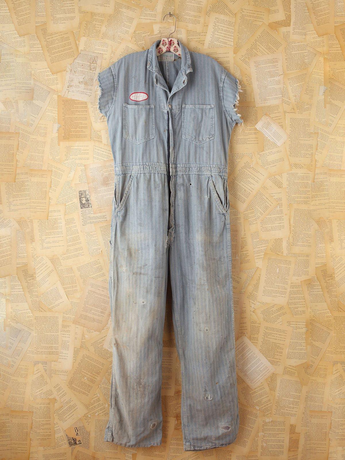 Vintage Striped Zip Jumpsuit