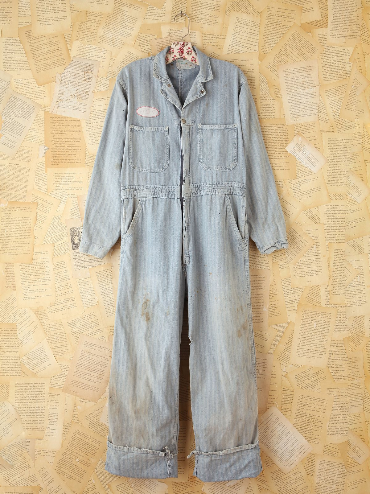Vintage Striped Denim Jumpsuit