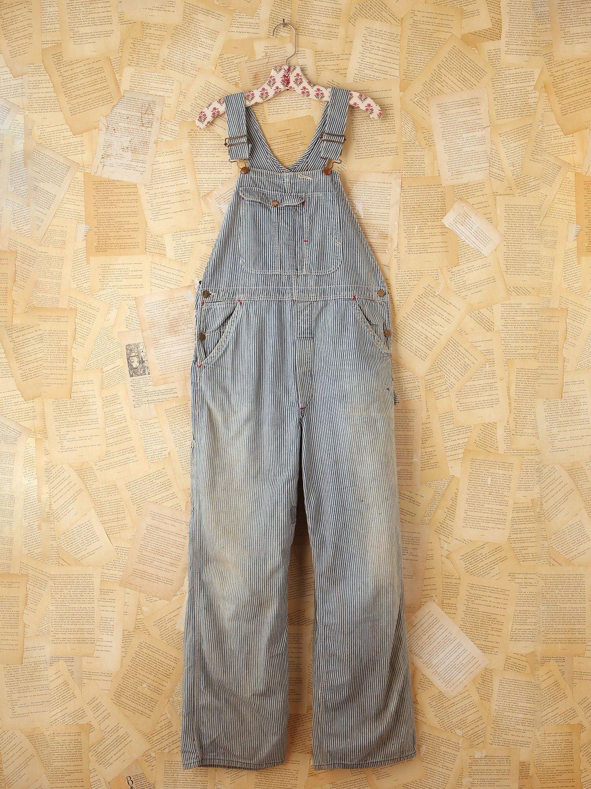 Vintage Striped Denim Overalls