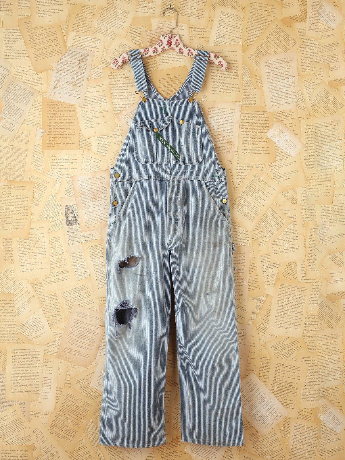 Vintage Key Striped Denim Overalls
