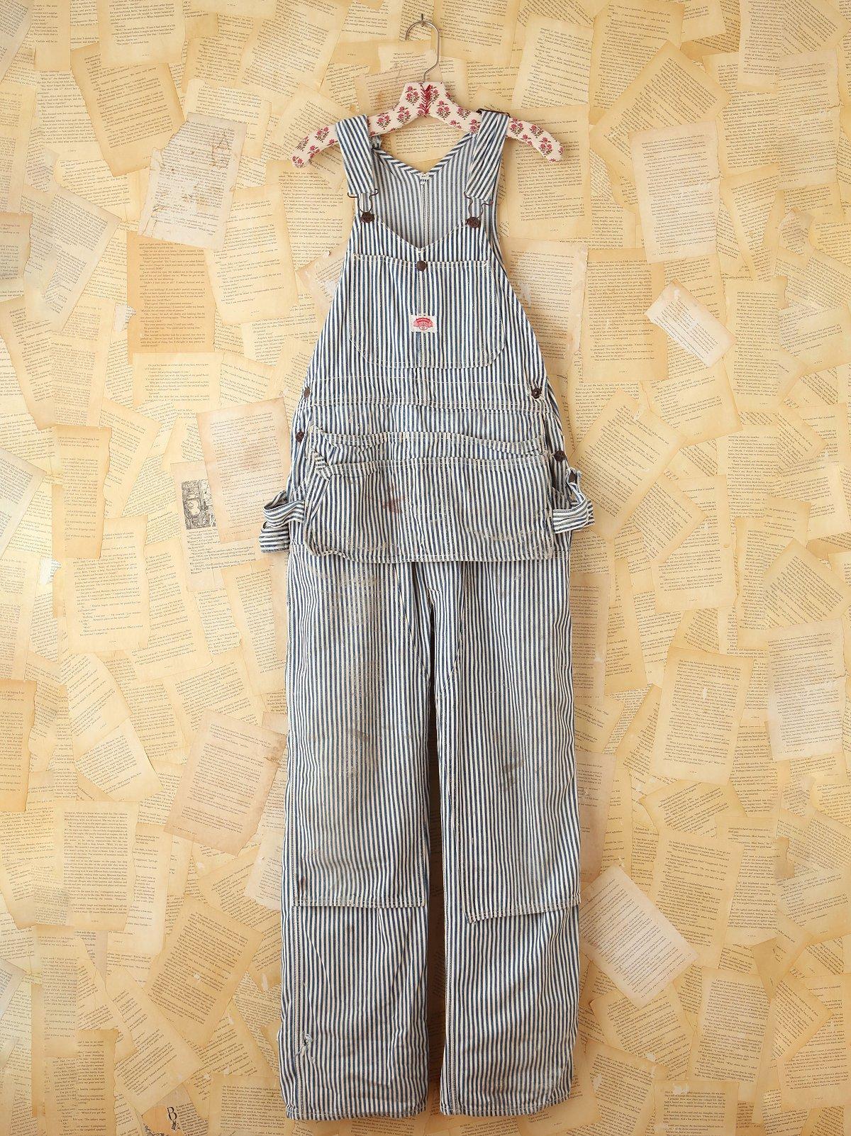Vintage Thick Stripe Denim Overalls