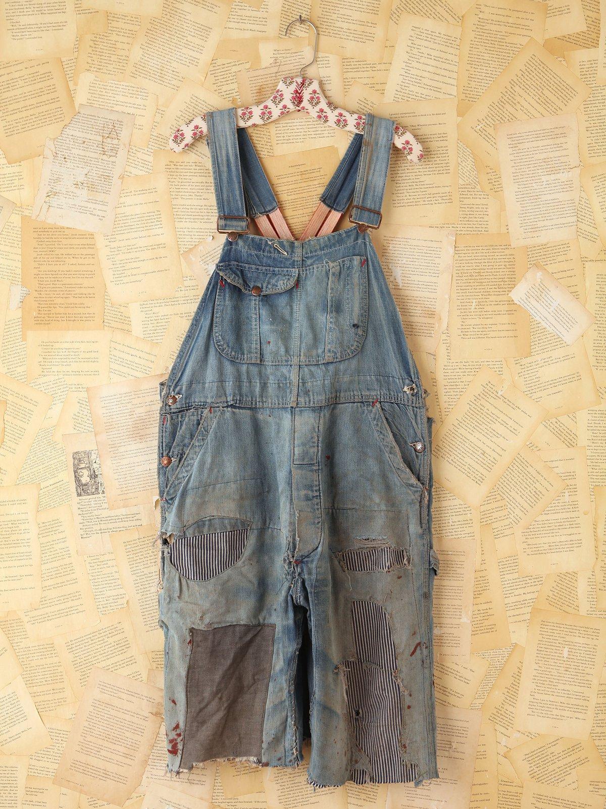 Vintage Patched Denim Cutoff Overalls