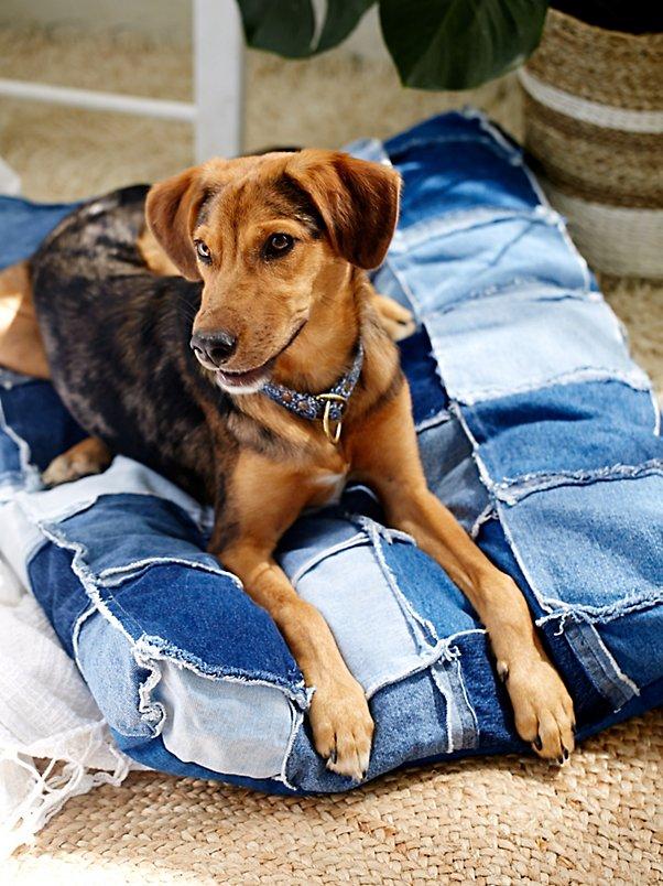 Patched Denim Dog Bed