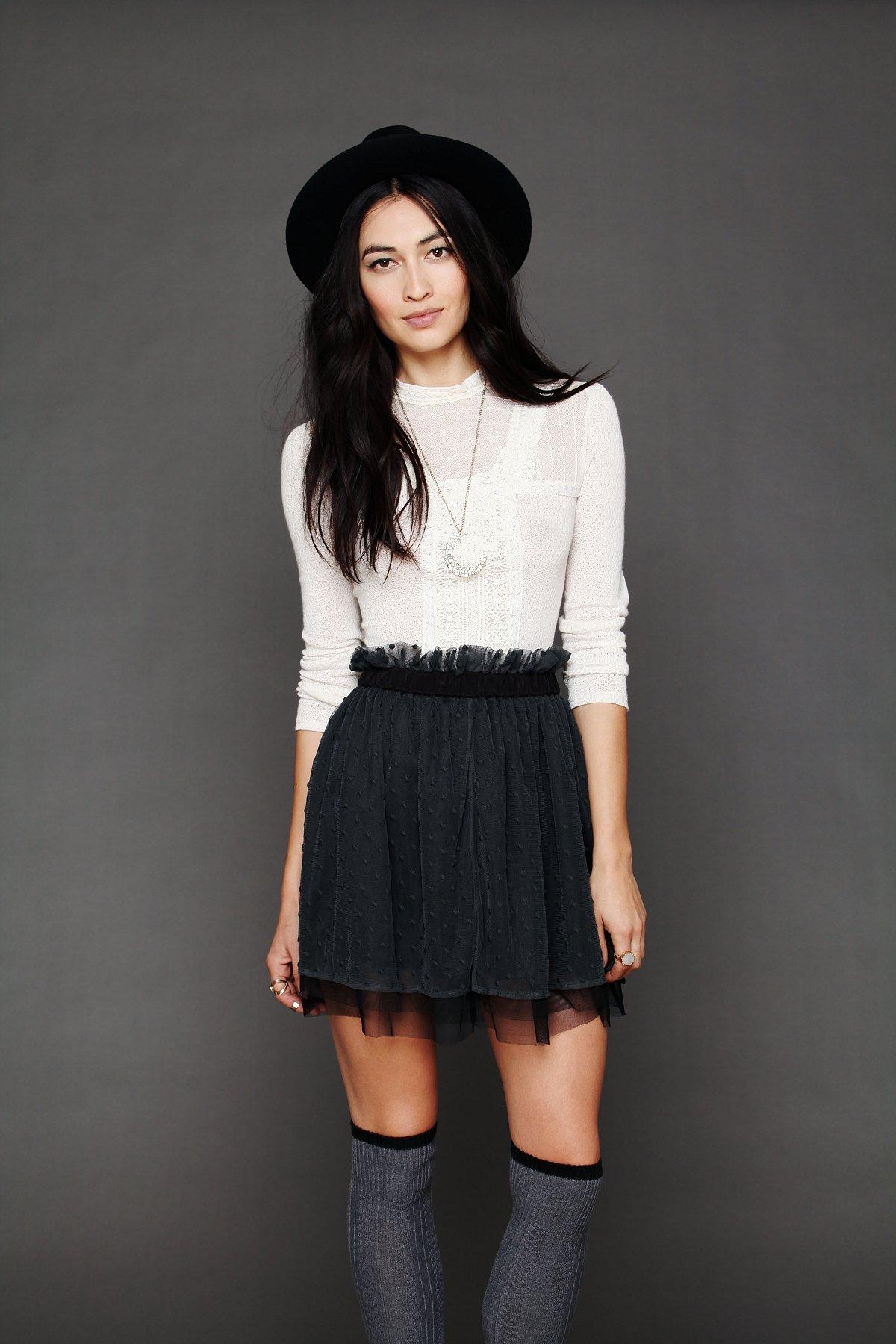 Polka Dot Mesh Skirt