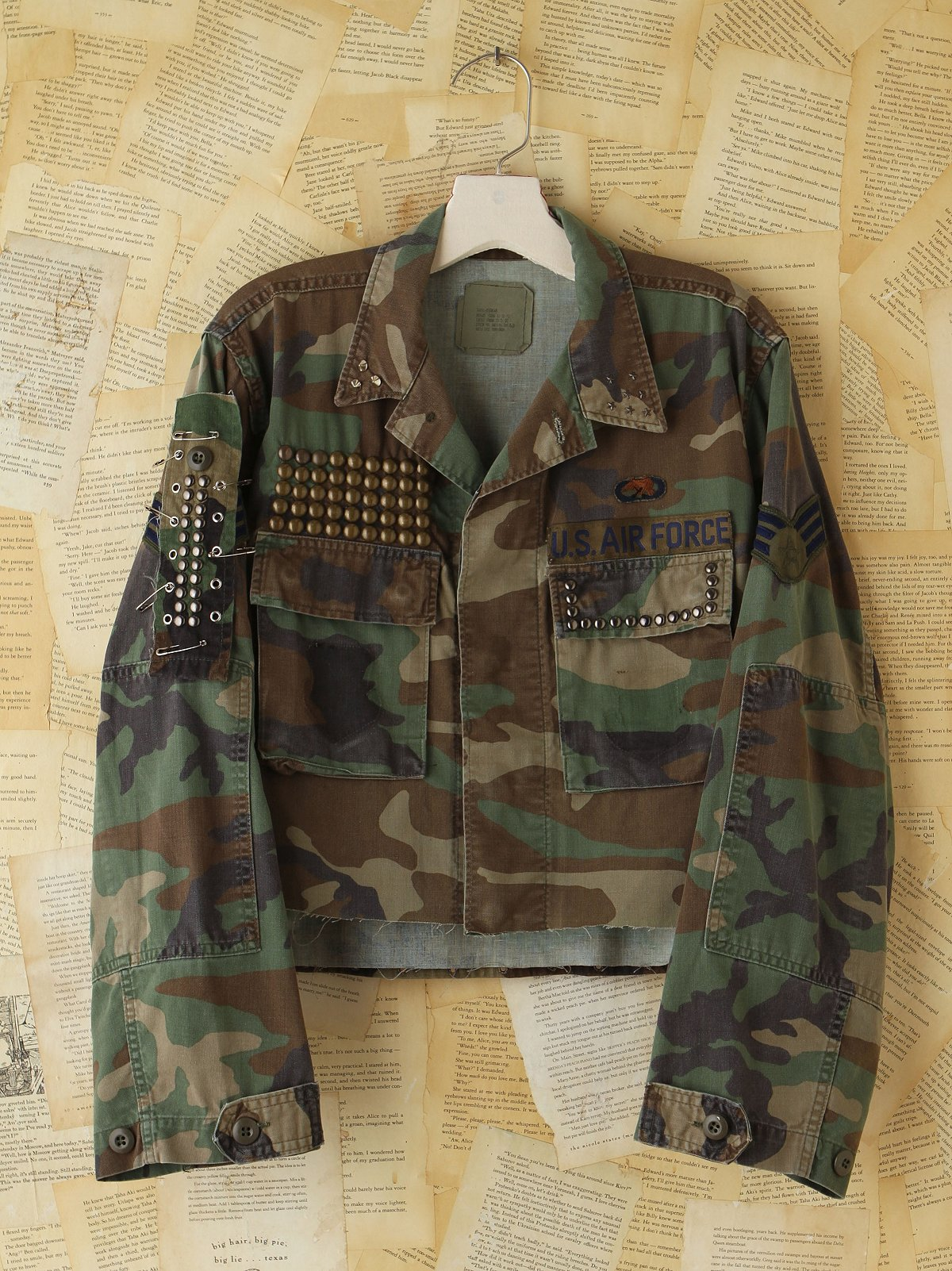 Vintage Studded and Cropped Camo Jacket