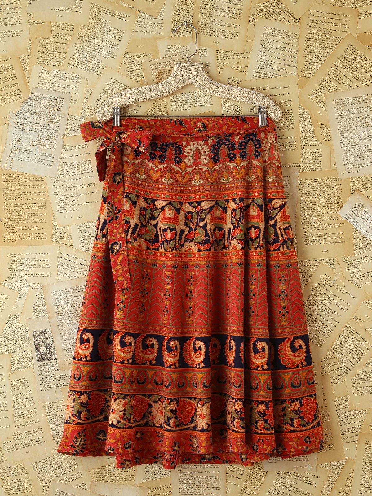 Vintage Printed Wrap Skirt