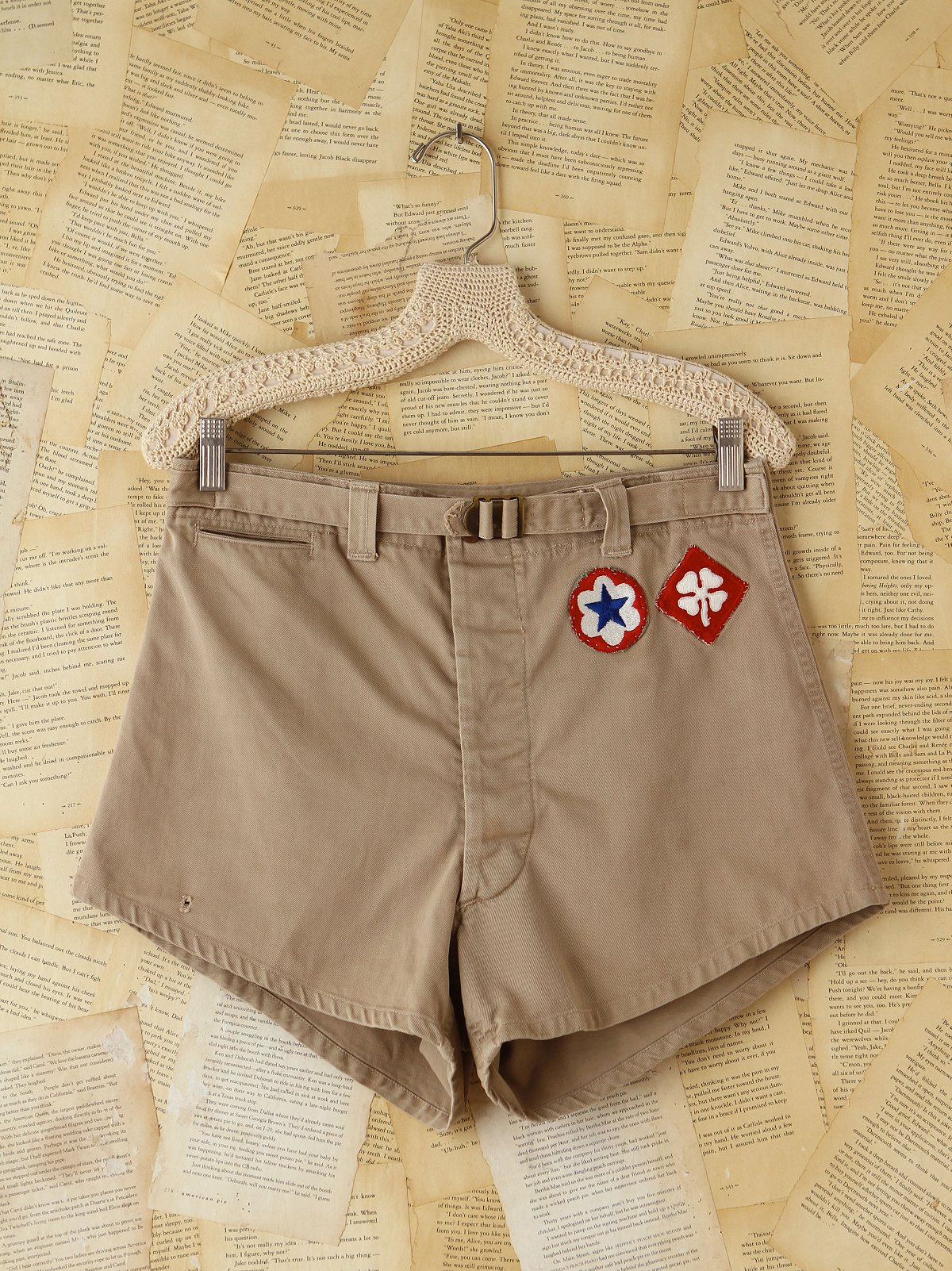 Vintage Khaki High-Waisted Patched Shorts