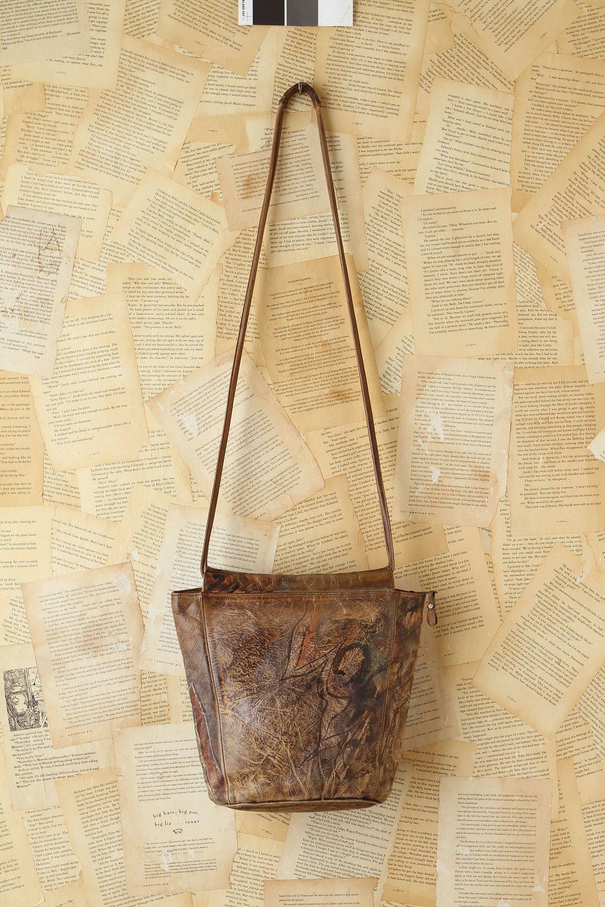 Vintage 1980s Handpainted Leather Bag