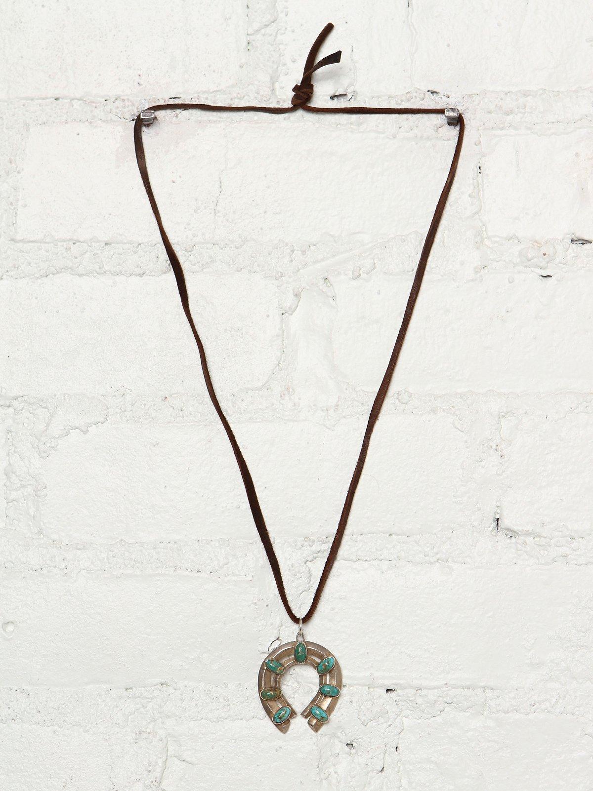 Vintage Turquoise Horseshoe Necklace