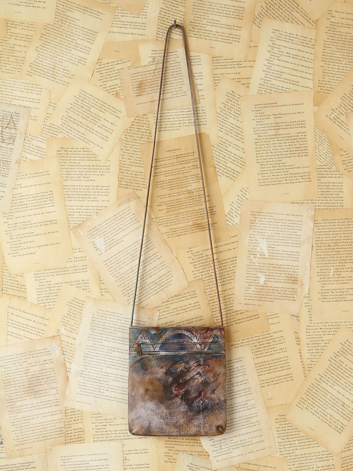 Vintage Handpainted Mini Leather Bag