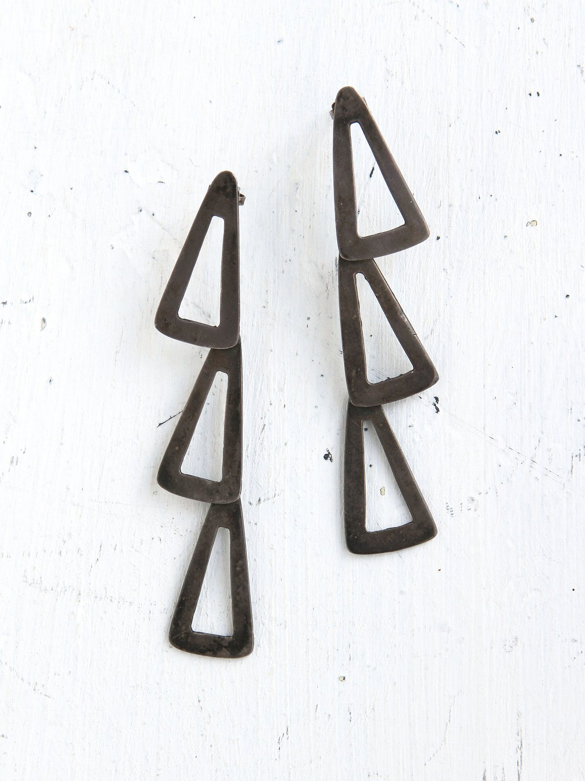 Vintage Silver Triangle Earrings