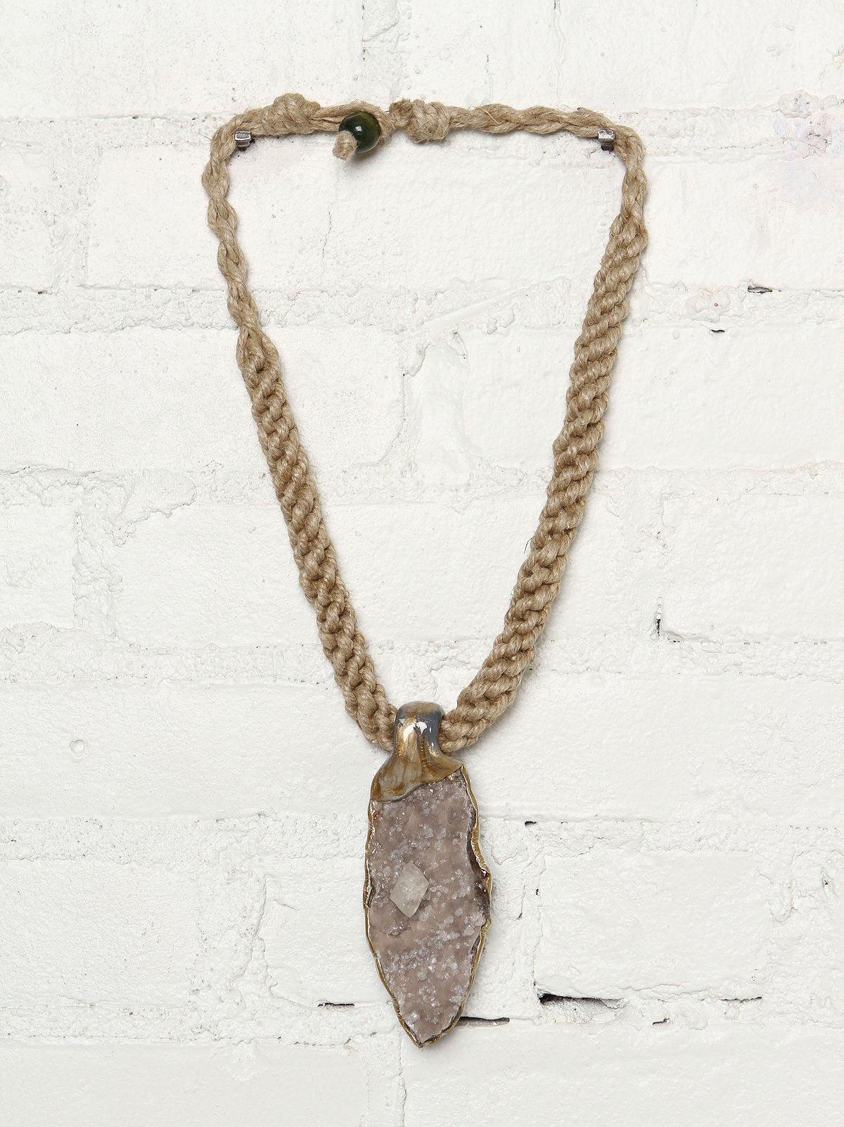 Vintage Woven Rope Necklace With Stone