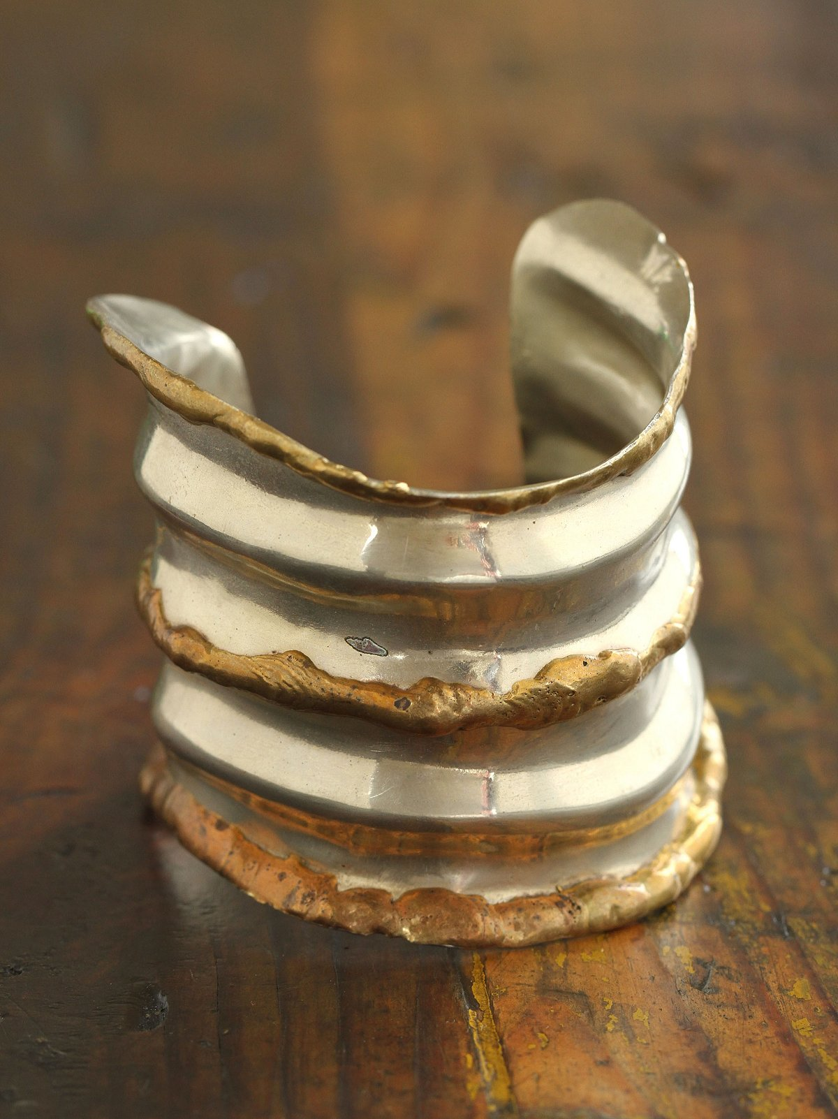 Vintage 1980s Pounded Metal Cuff
