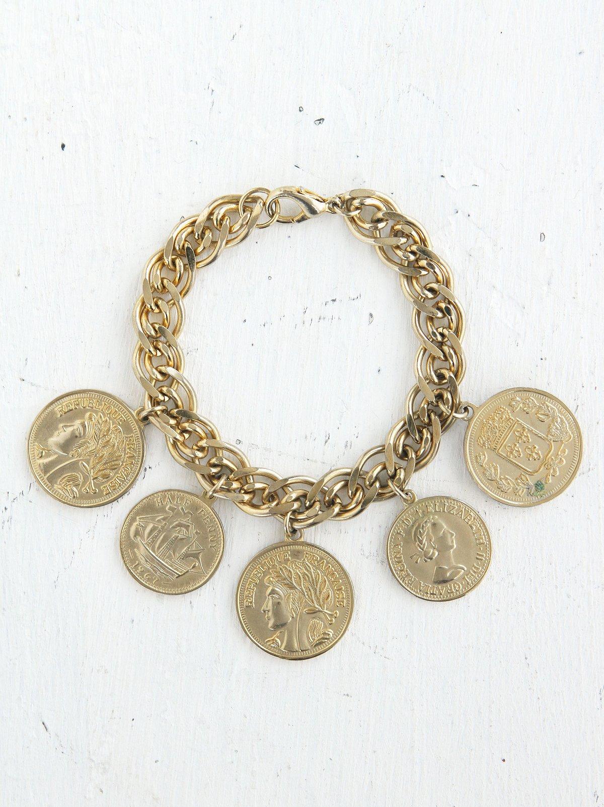 Vintage Gold-Toned Coin Bracelet