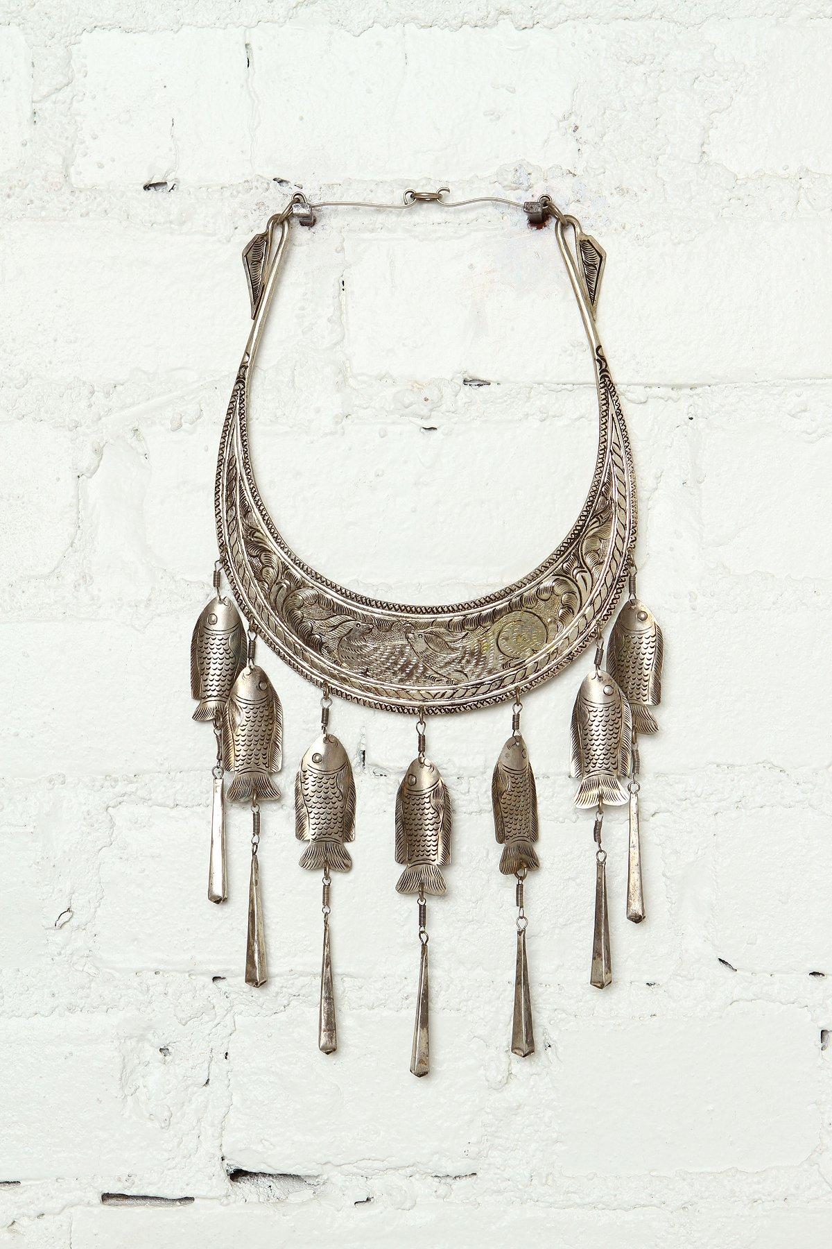 Vintage Etched Metal Collar Necklace