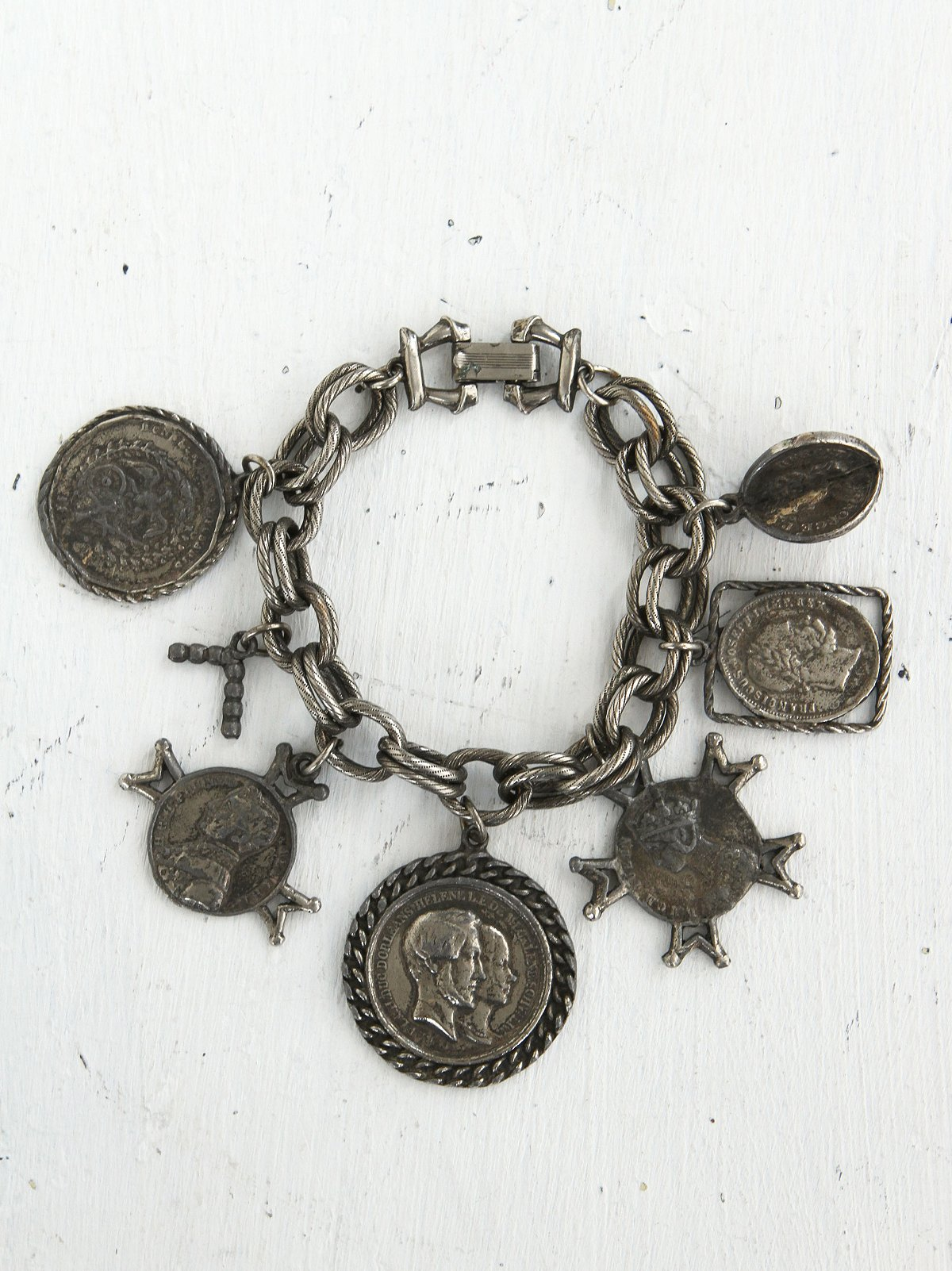 Vintage Distressed Silver Coin Bracelet