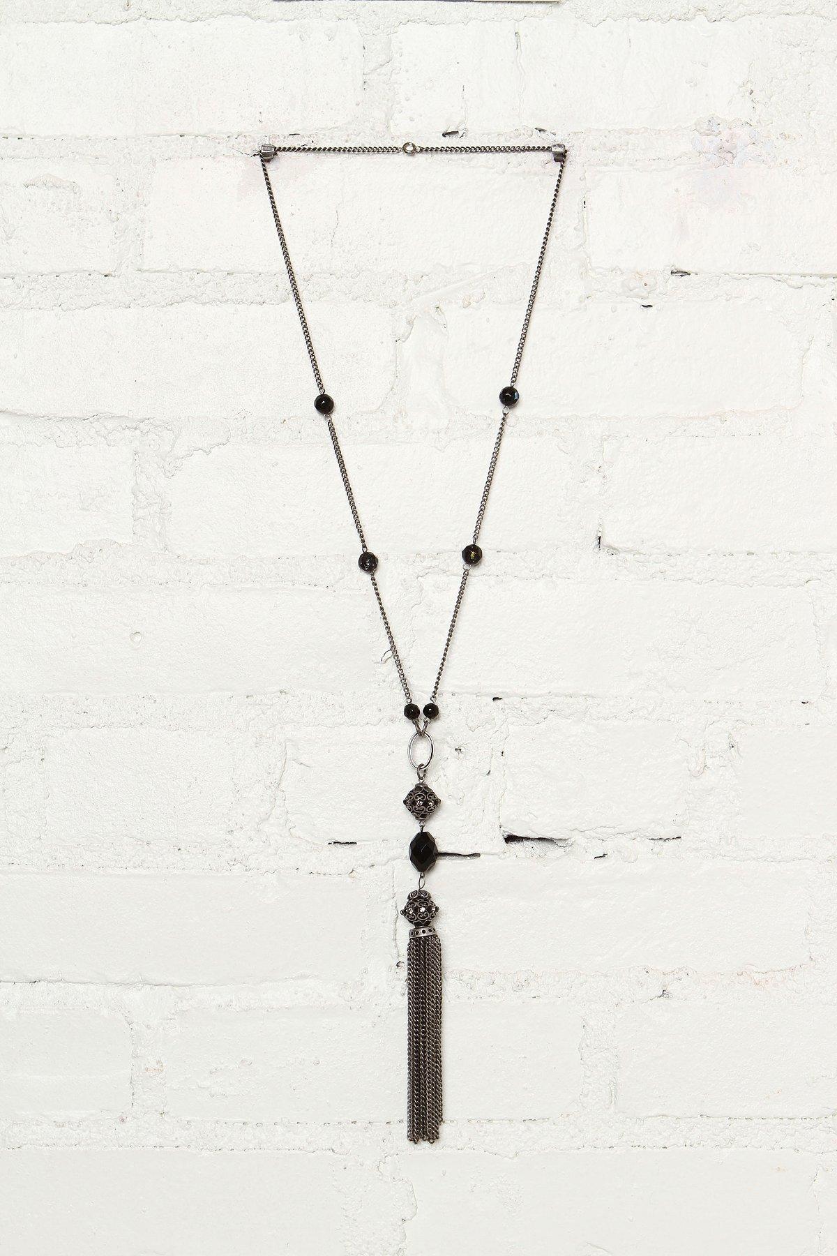 Vintage Black Beaded Necklace With Tassel