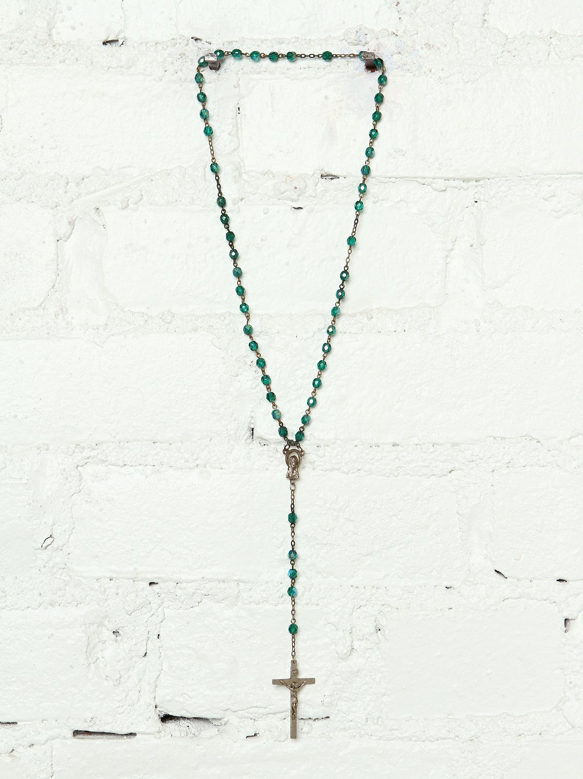 Vintage Green Beaded Rosary
