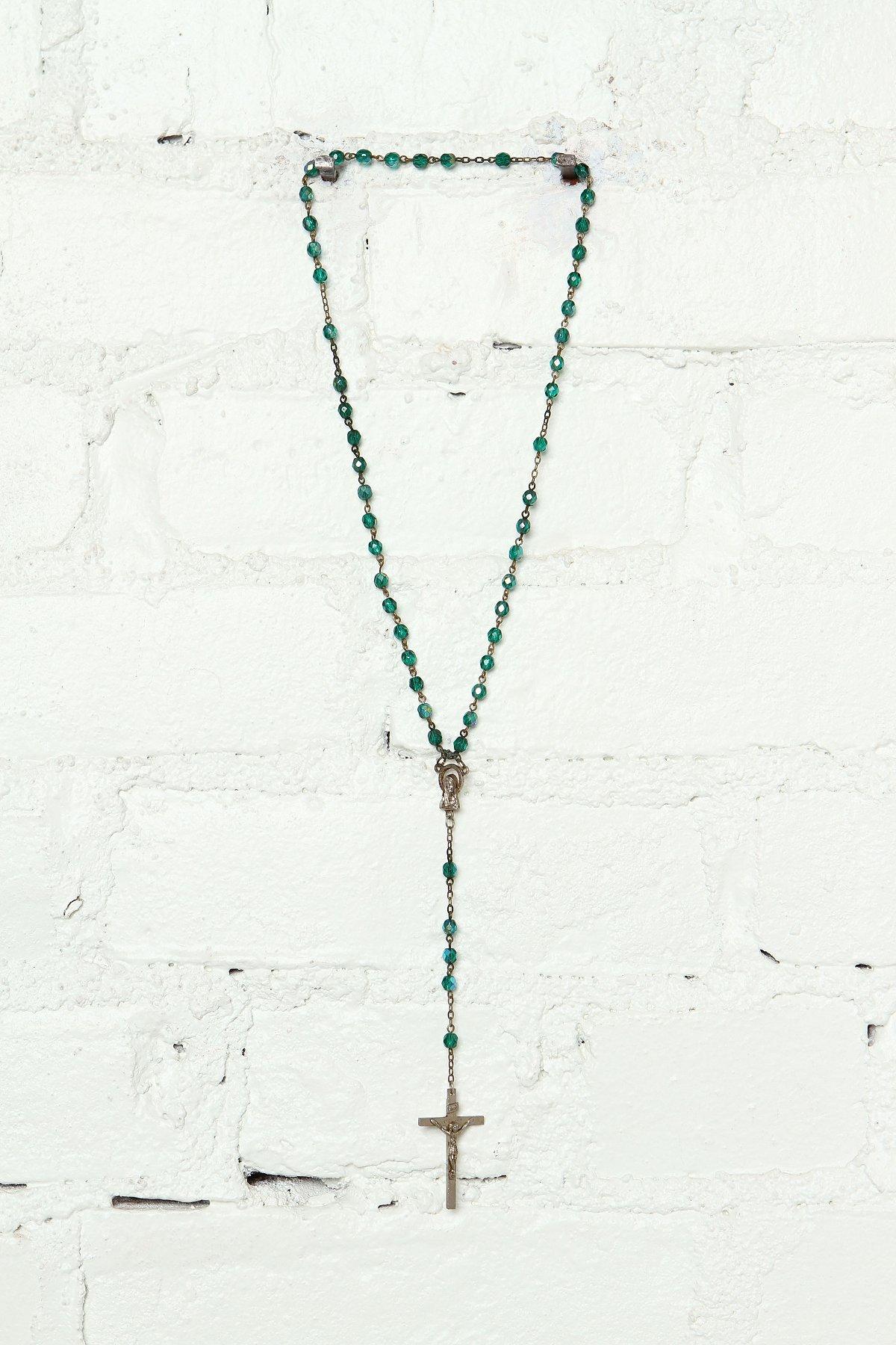 Vintage Green Beaded Rosary