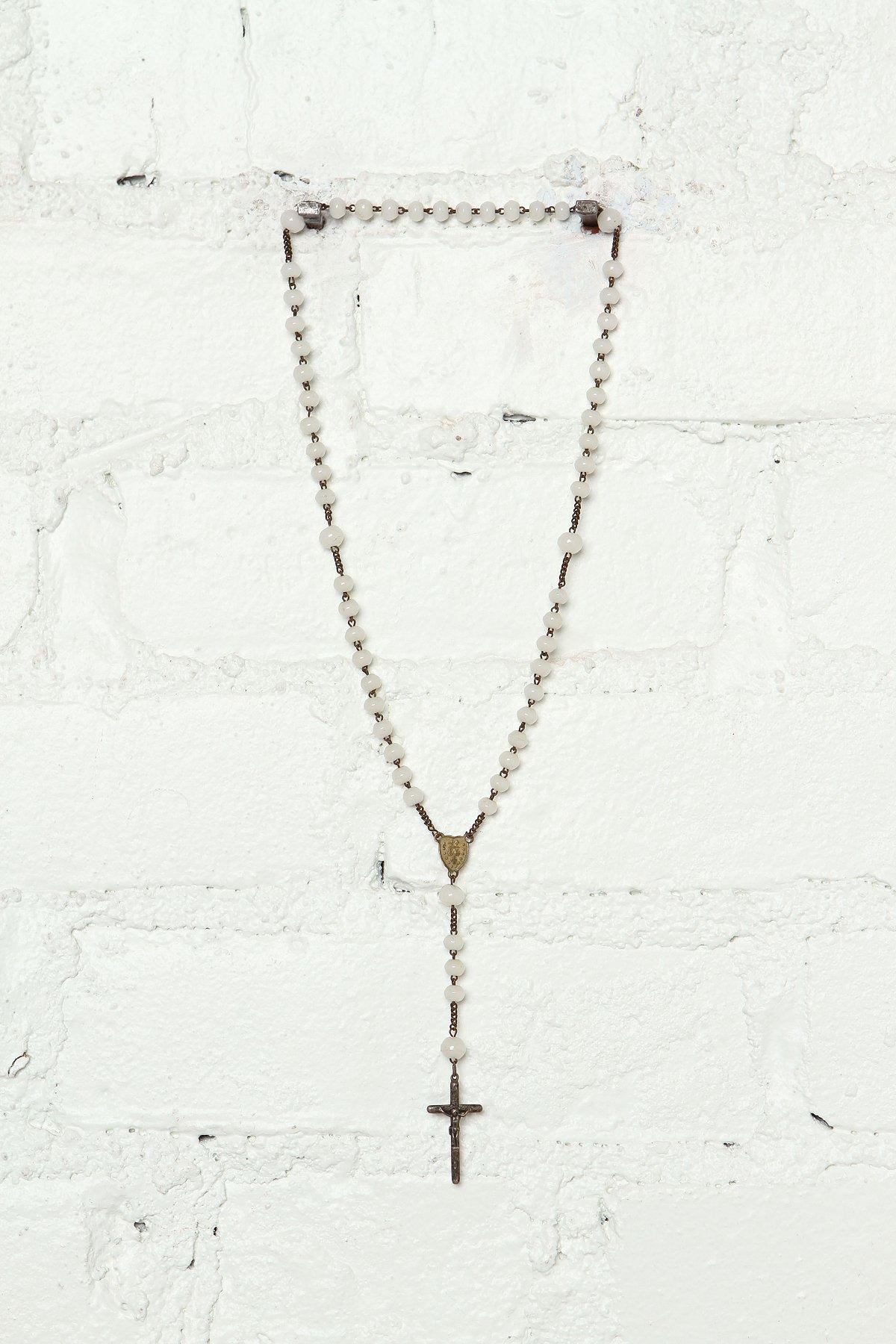 Vintage White Beaded Rosary