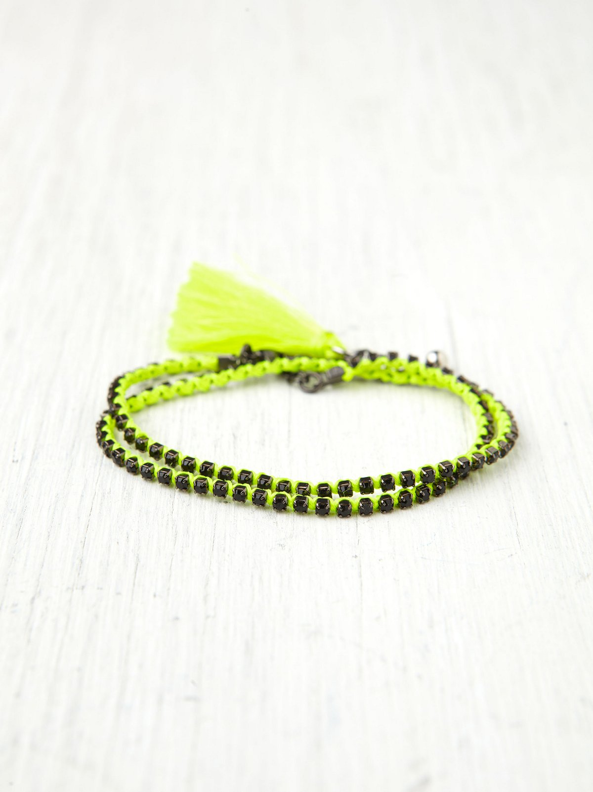 Rhinestone Wrap Tassel Bracelet