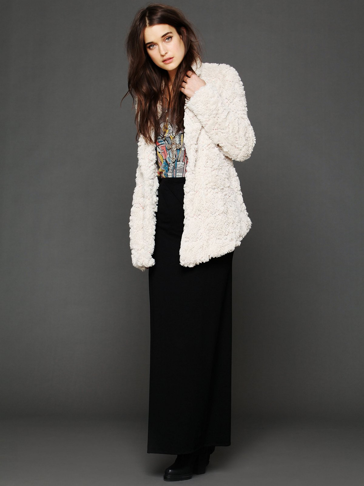 X Marks Faux Fur Coat