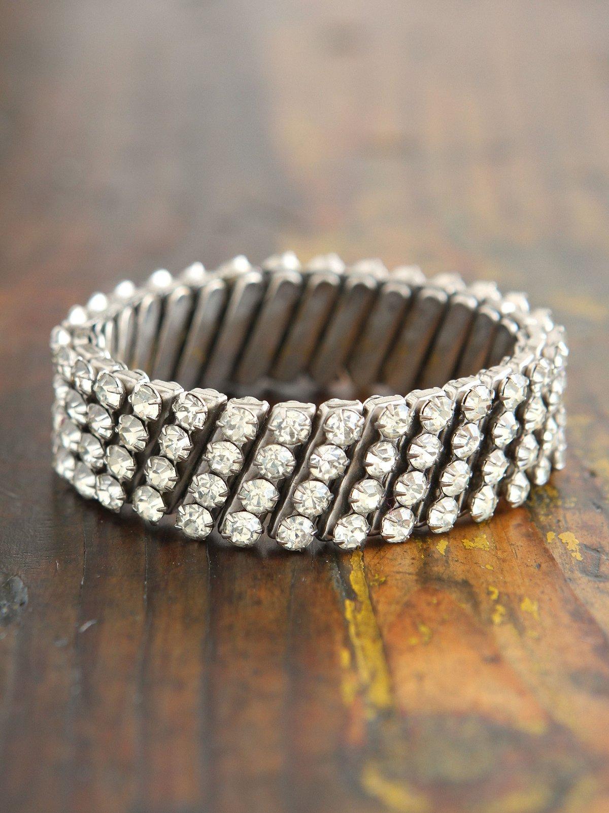 Vintage 1950s Crystal Rhinestone Stretchy Bracelet
