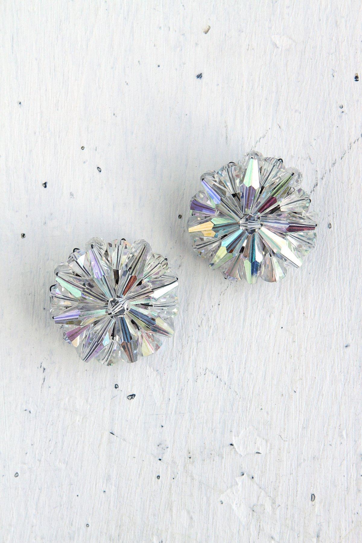 Vintage Crystal Snowflake Earrings