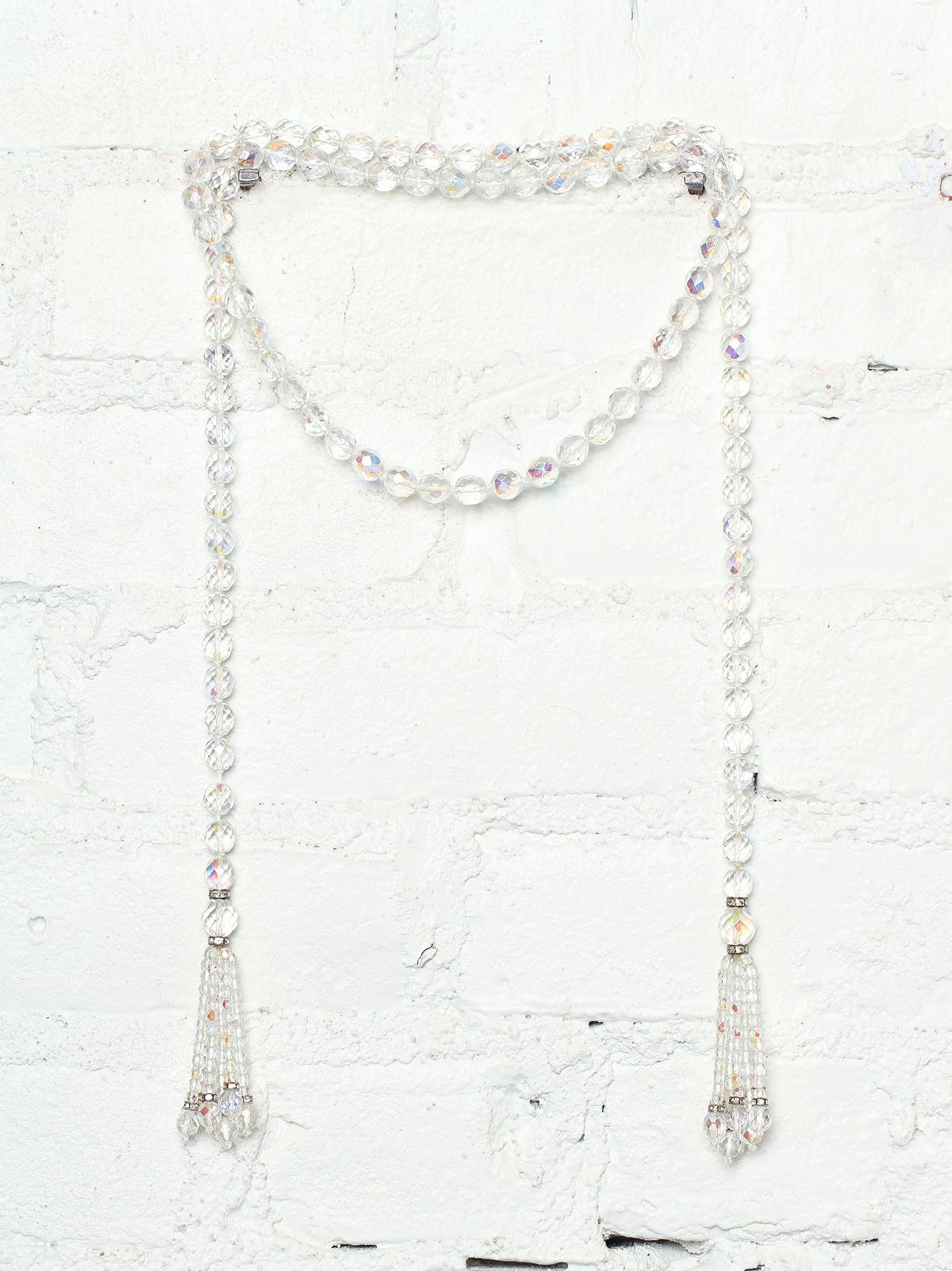 Vintage Crystal Bead Lariat Necklace