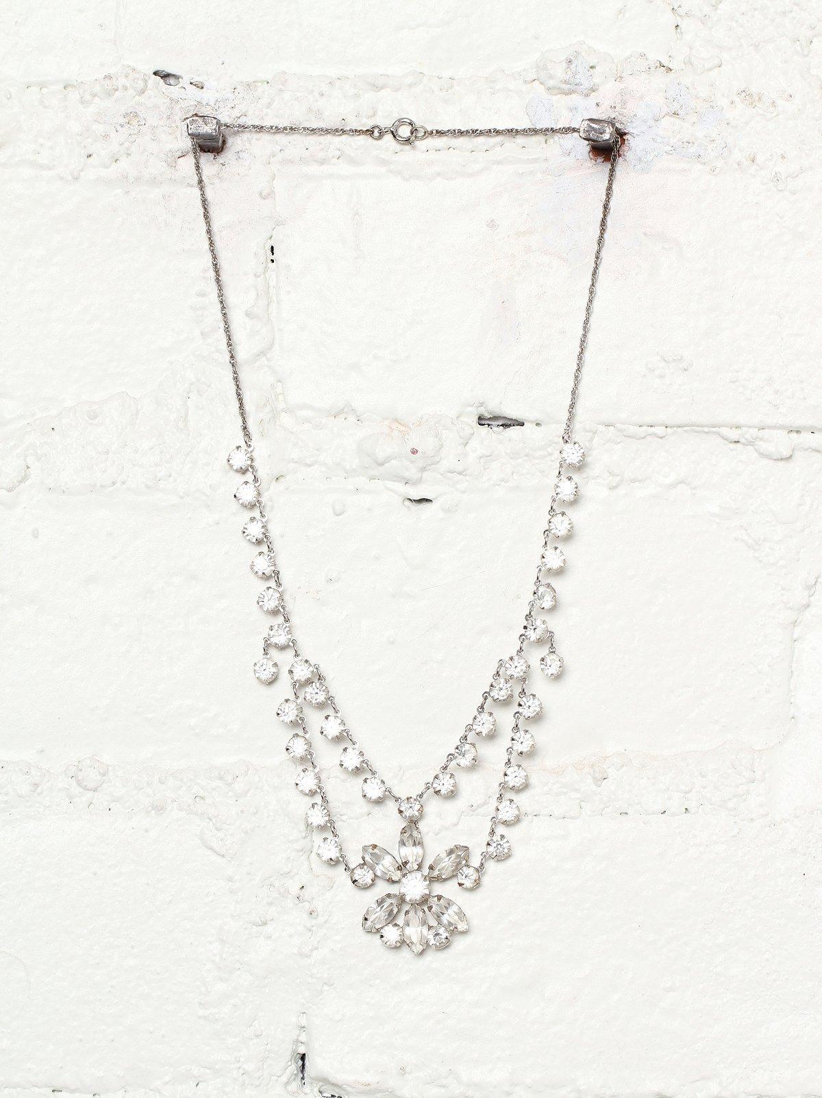 Vintage Crystal Stone Embellished Necklace
