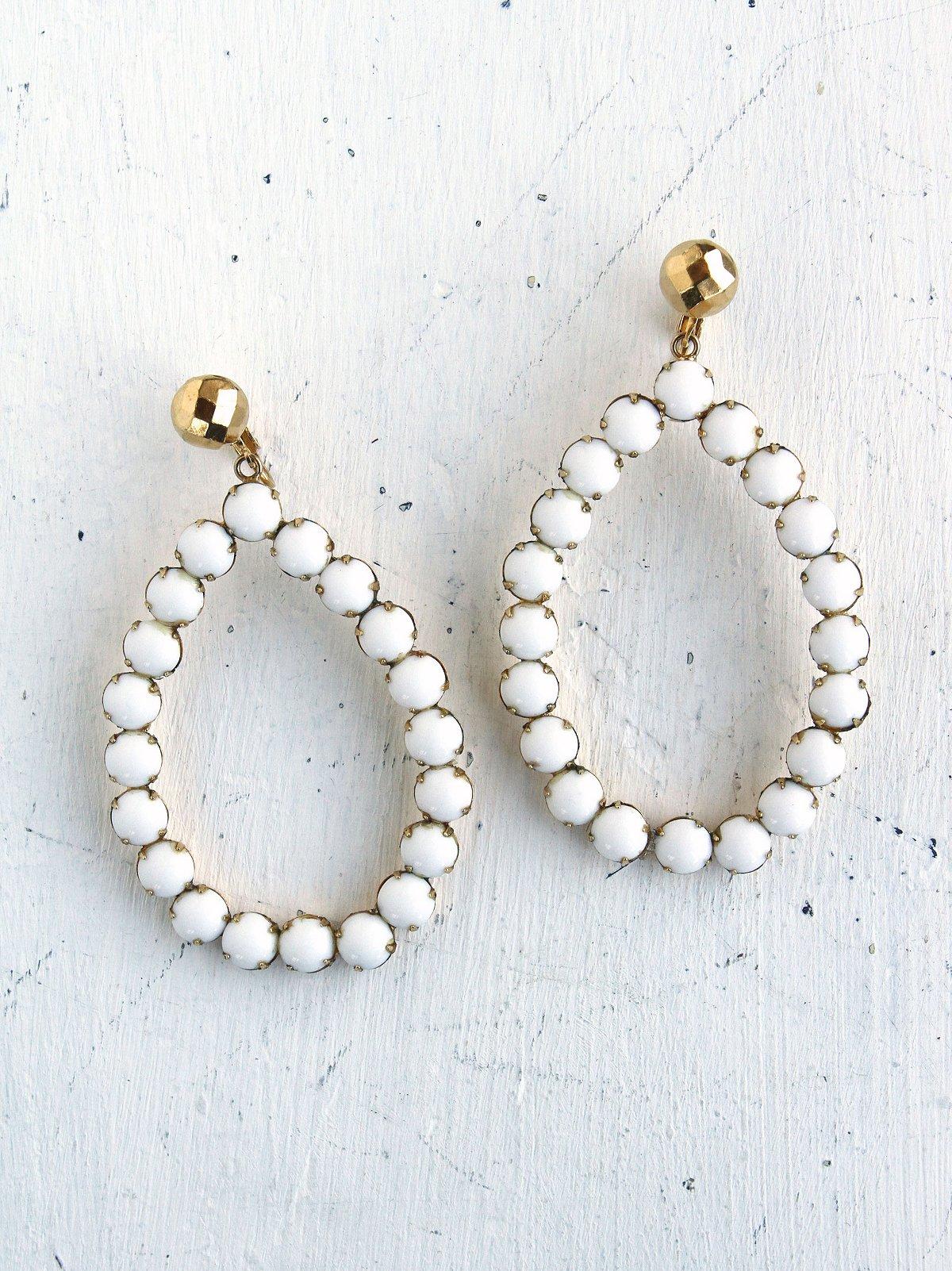 Vintage White Stud Embellished Earrings