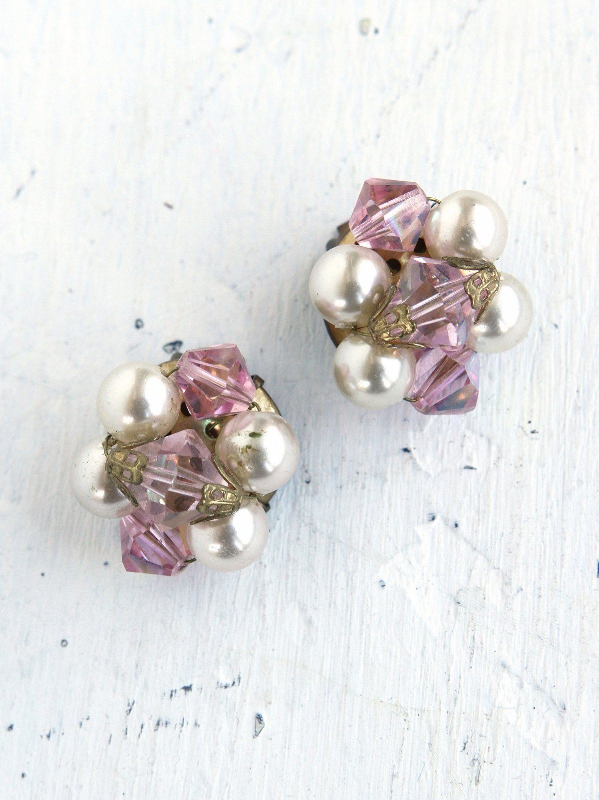 Vintage Costume Pearl and Crystal Bead Earrings