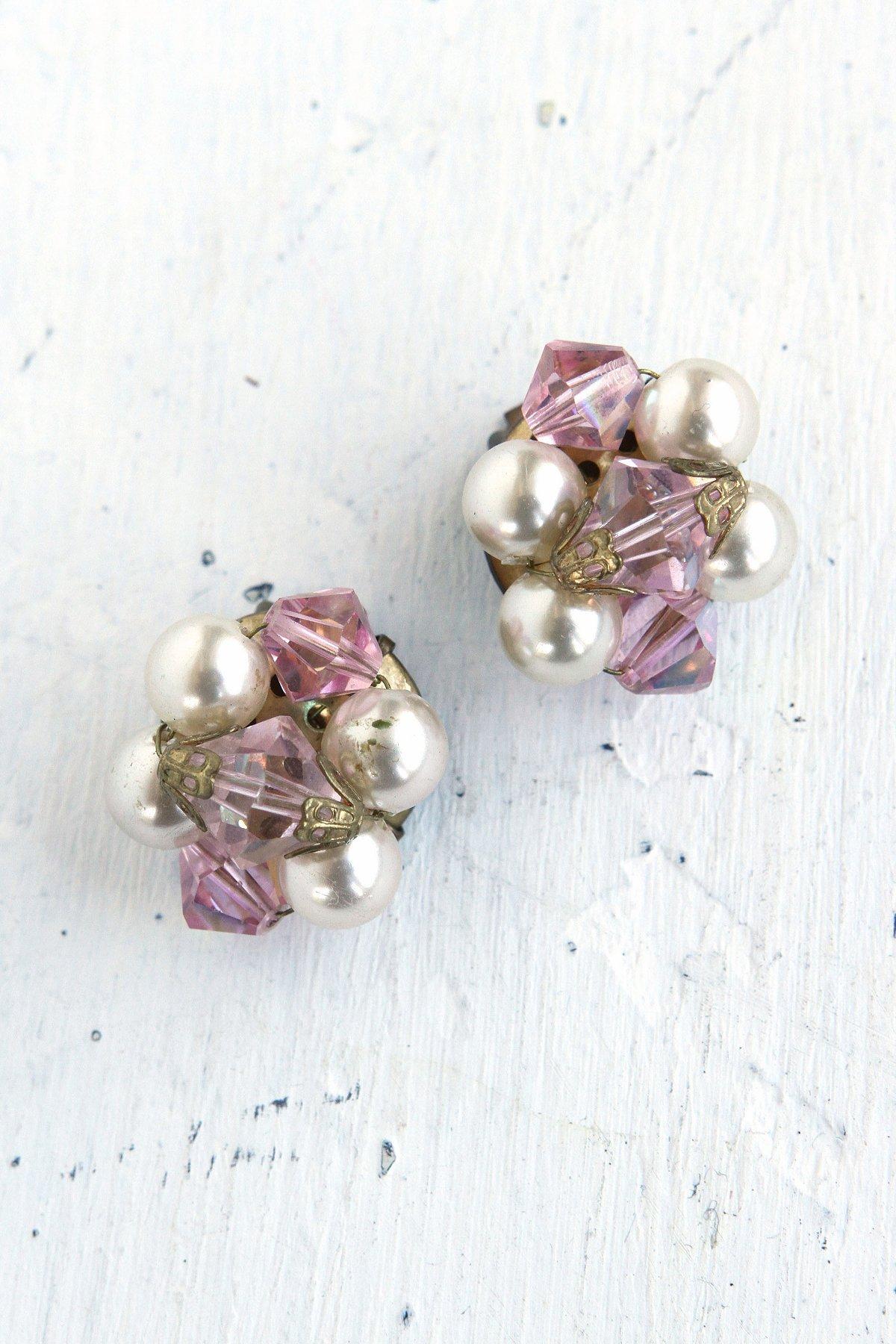Vintage Costume Pearl and Crystal Bead Earrings
