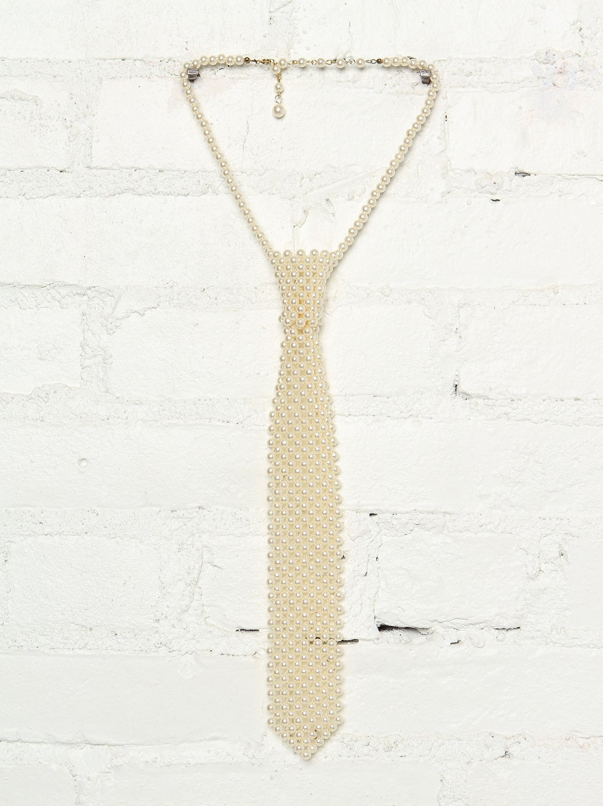 Vintage Faux Pearl Necktie Necklace