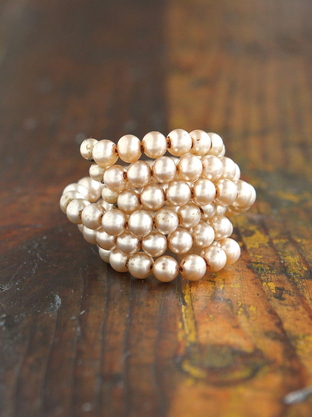 Vintage Costume Pearl Wire Bracelet