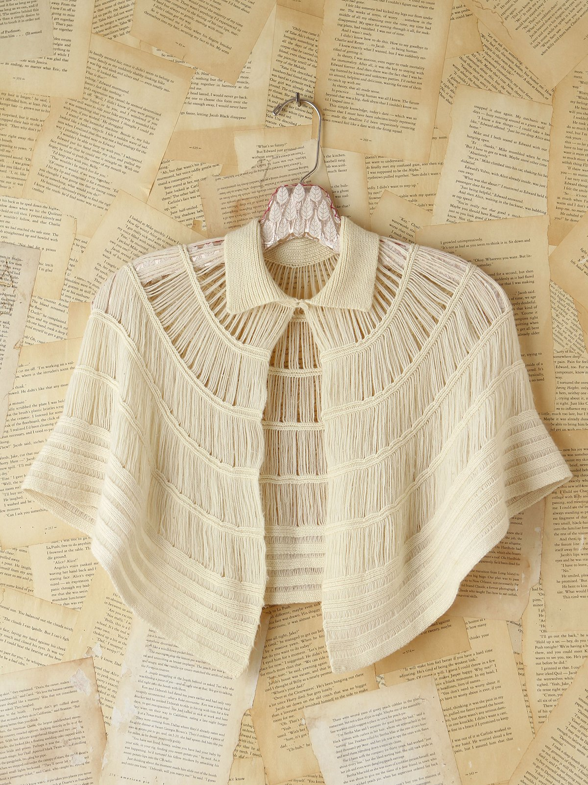 Vintage Cream Knit Sweater Cape